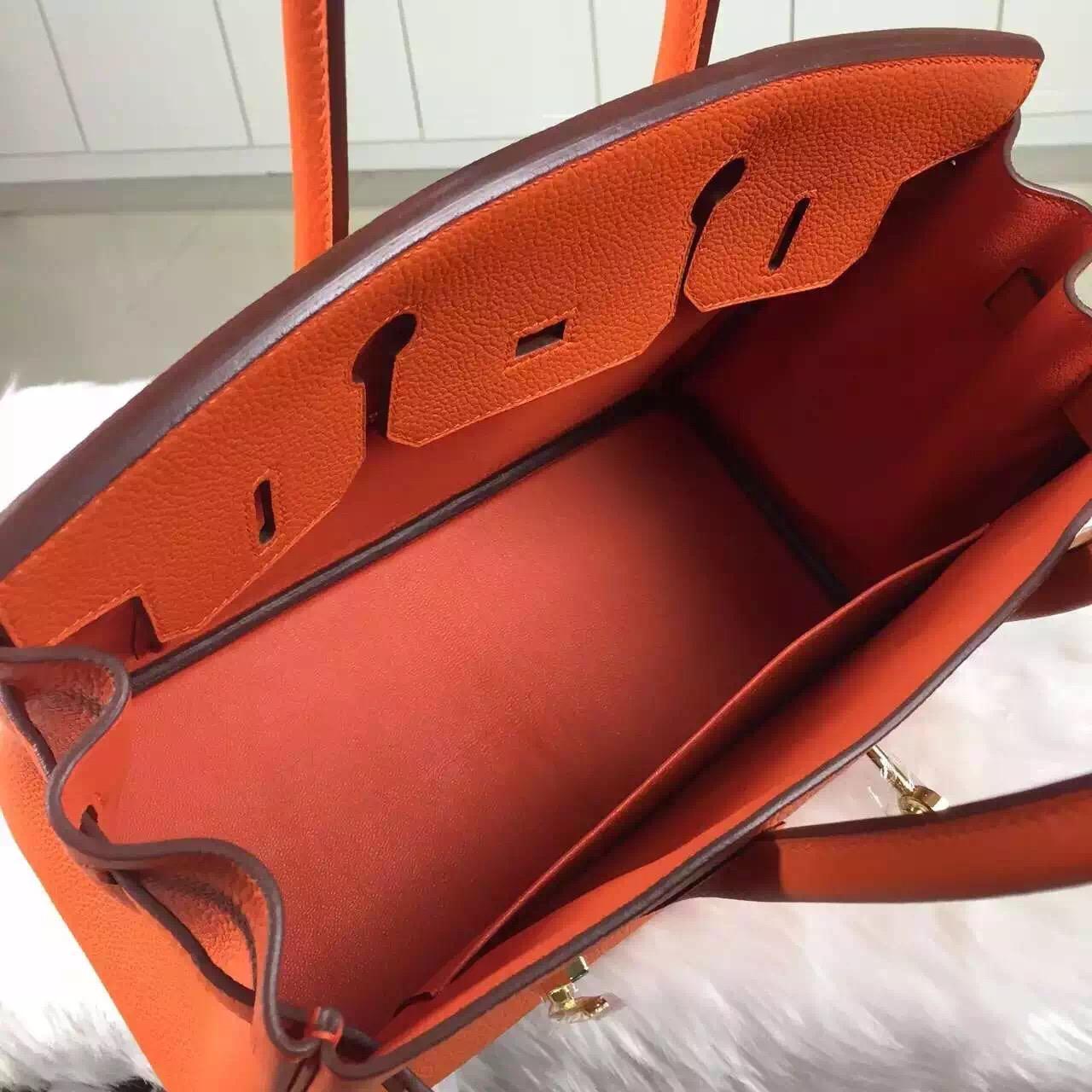 Fashion Hermes Birkin30 Orange Togo Calfskin Leather Women's Bag