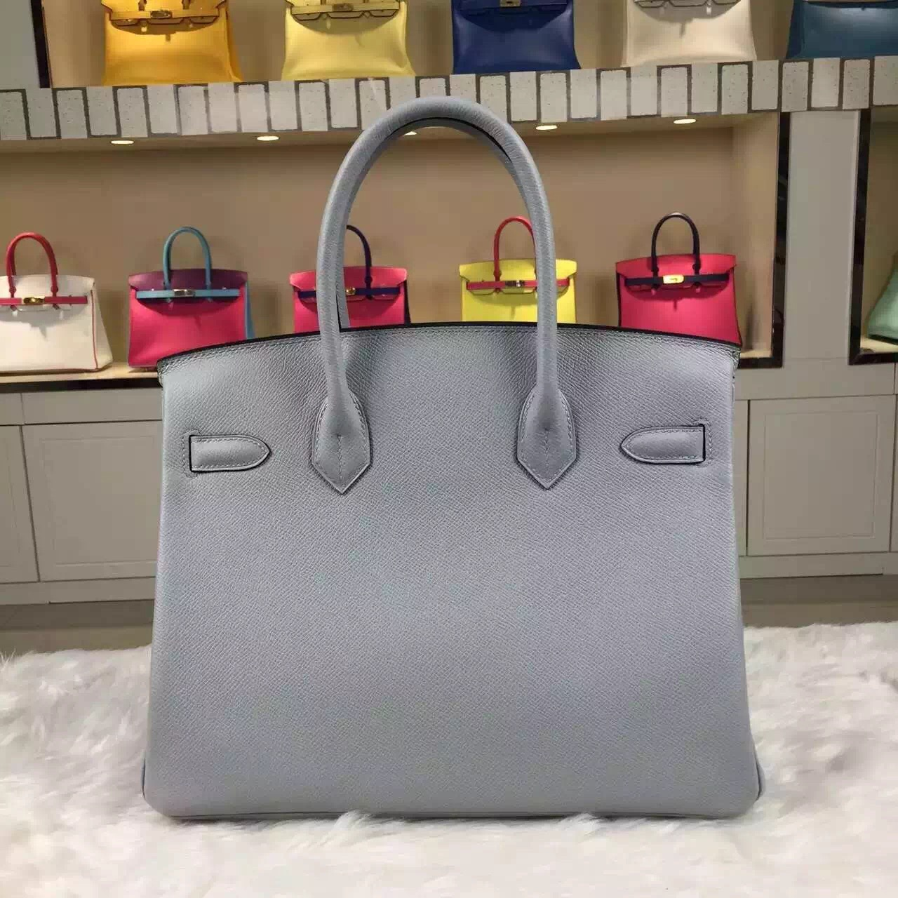 Discount Hermes Epsom Calfskin Leather Birkin30 8U Glacial Blue