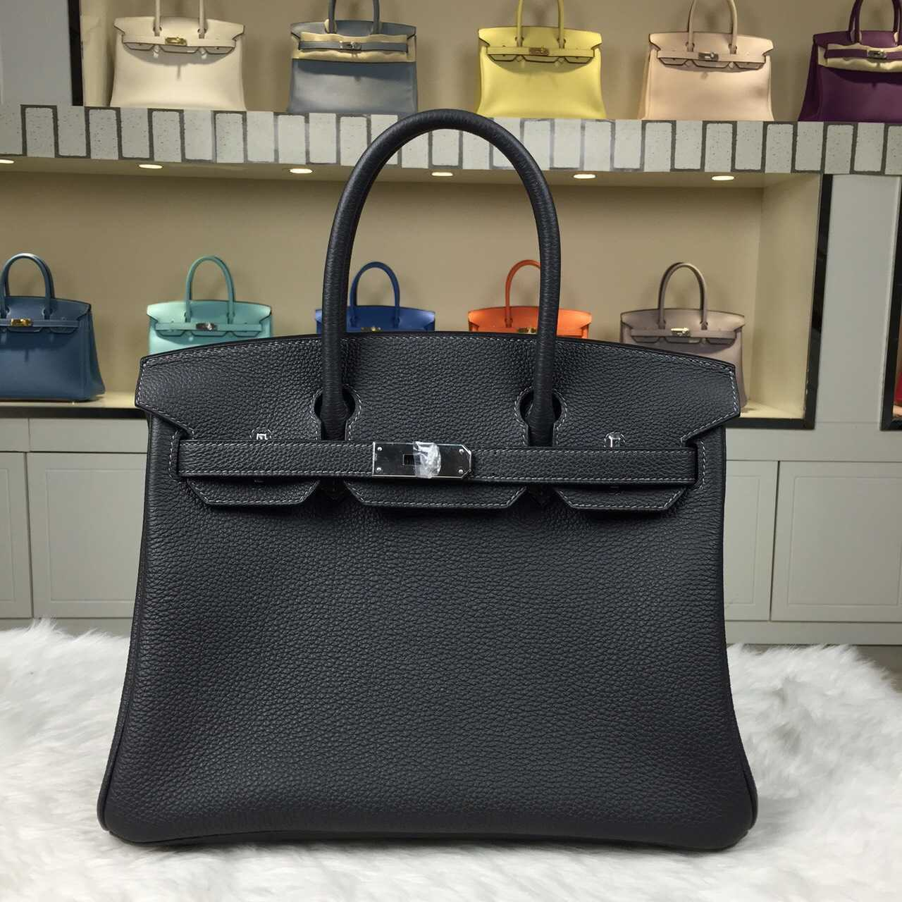 New Hermes Bag CK84 Graphite Grey Togo Calfskin Leather Birkin30cm