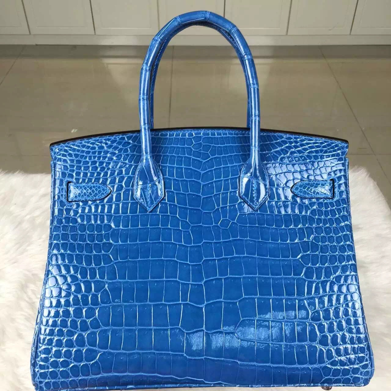 Discount Hermes 7Q Mykonos Blue Crocodile Leather Birkin30