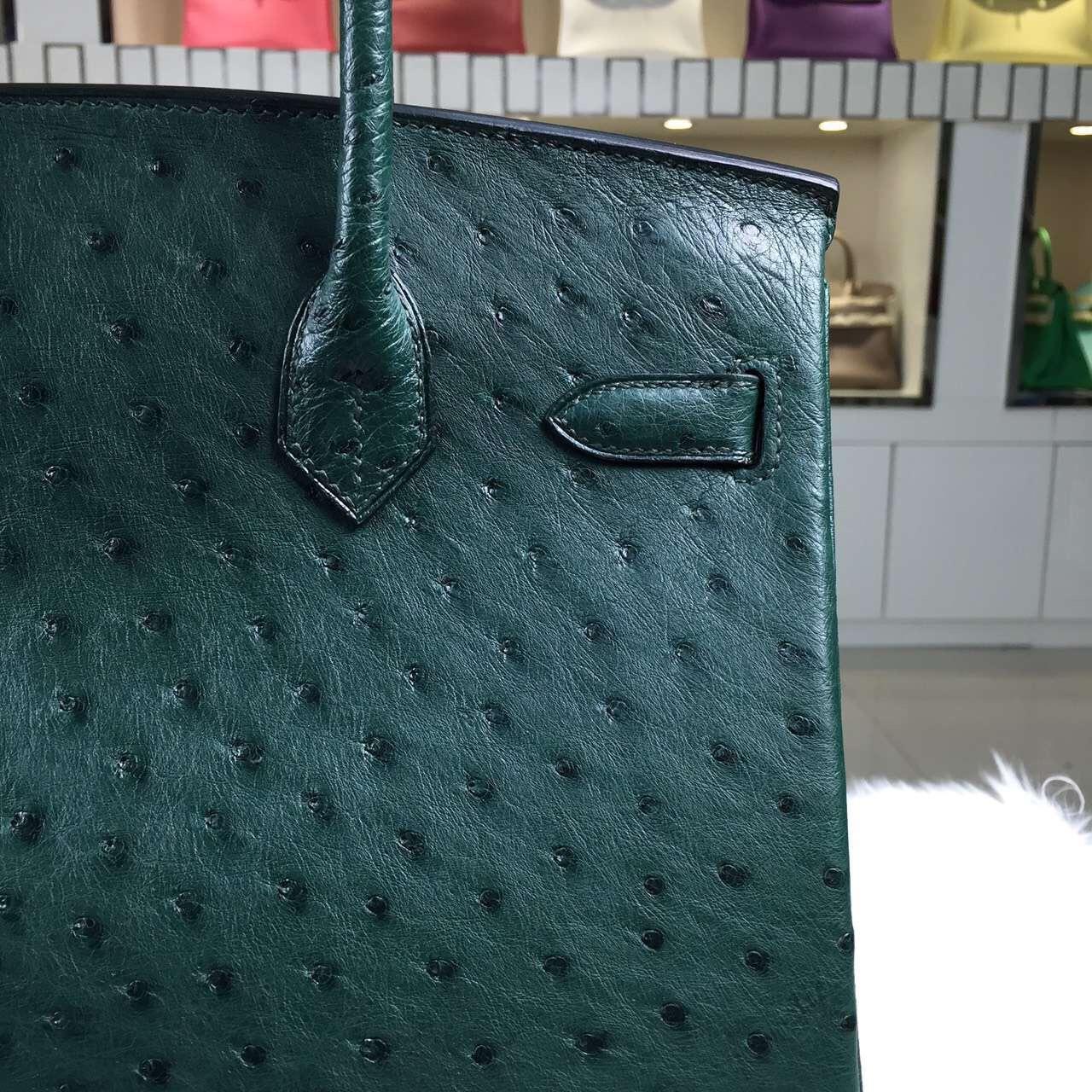 Online Store Hermes Birkin30 Dark Green Ostrich Leather Silver Hardware