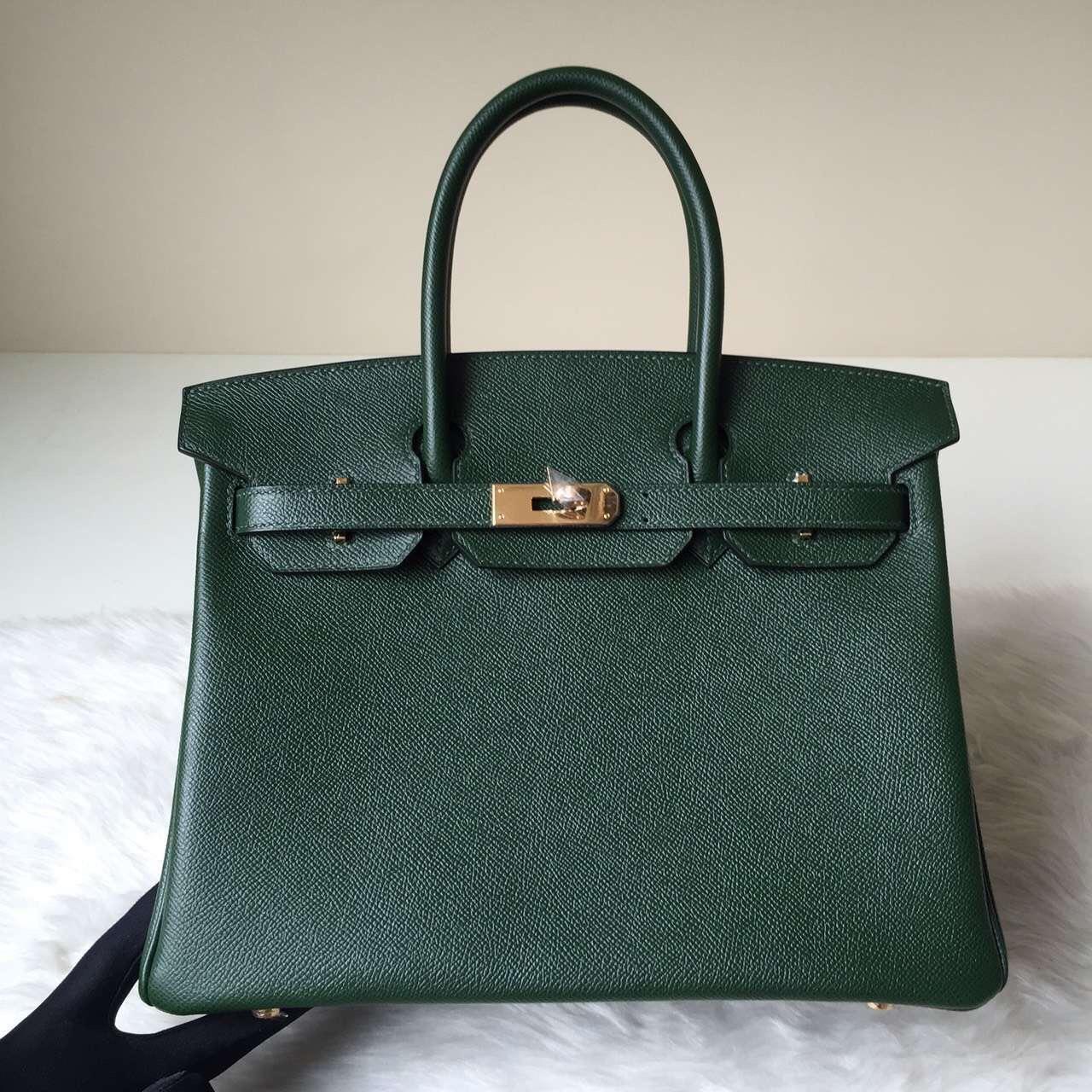 New Hermes 2Q English Green Epsom Leather Birkin Bag30cm