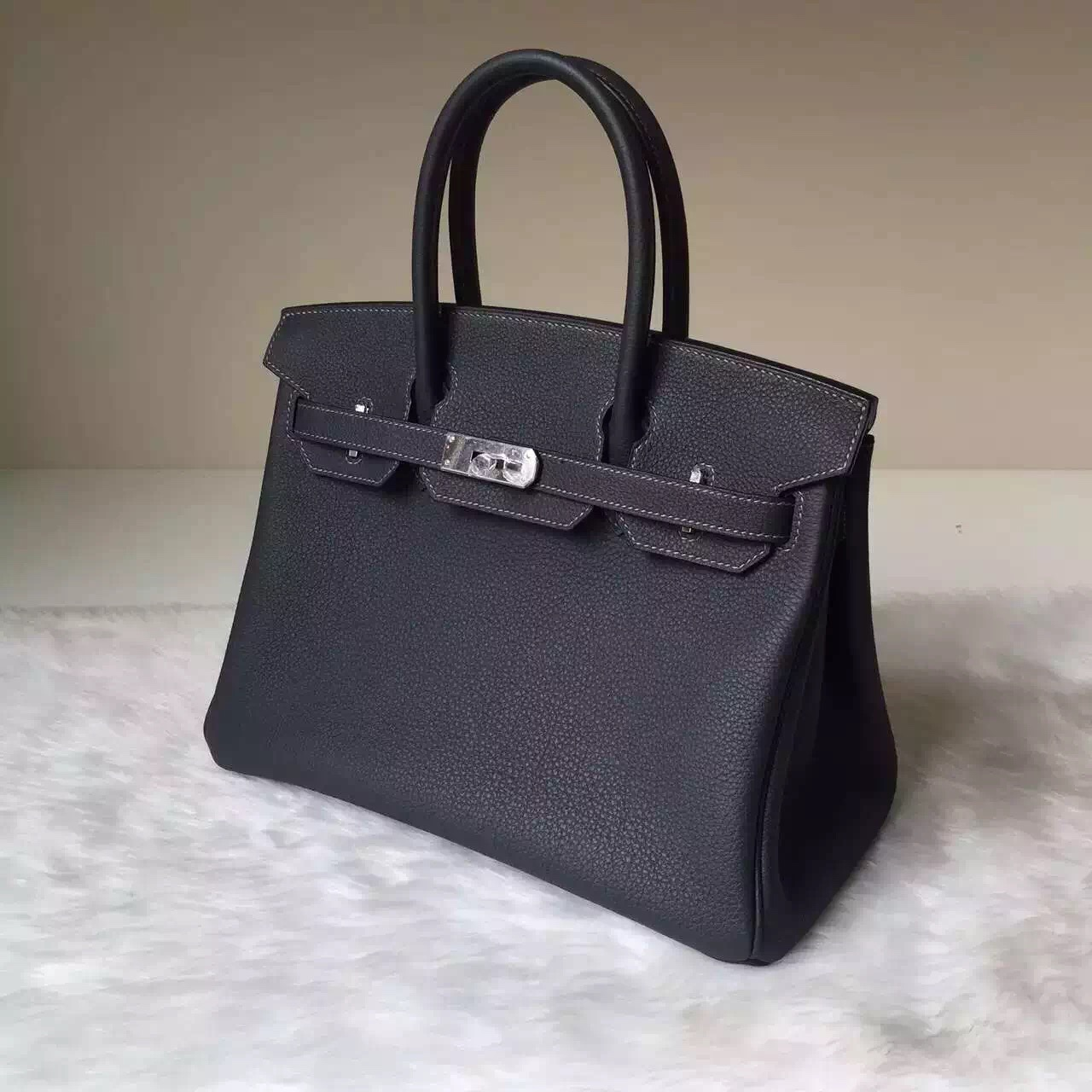 Wholesale Hermes 8F Etain Grey Togo Calfskin Leather Birkin Bag30cm