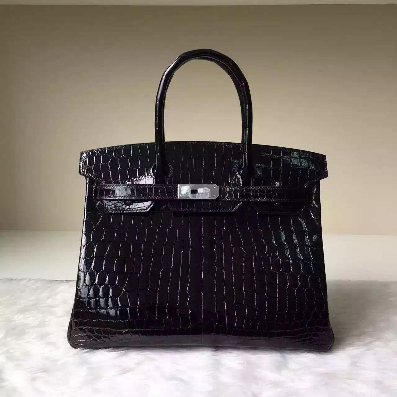 Noble Women's Bag Hermes CK89 Black Shiny Crocodile Leather Birkin30