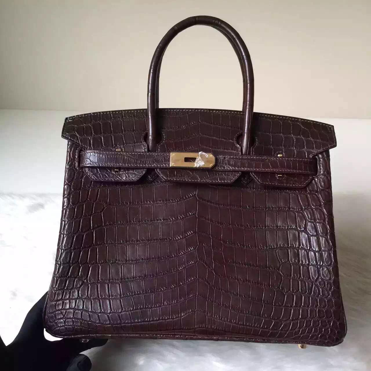Sale Hermes Crocodile Leather matt Birkin Bag 30cm in Dark Coffee