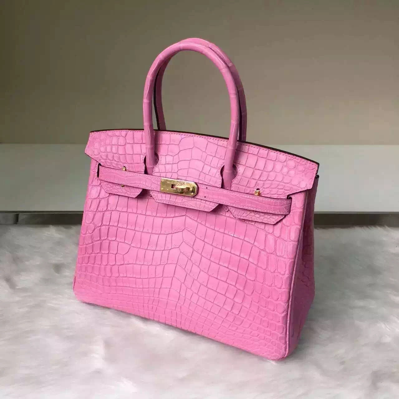 Online Store Hermes Matt Crocodile Leather Birkin30 Bag in Sakura Pink