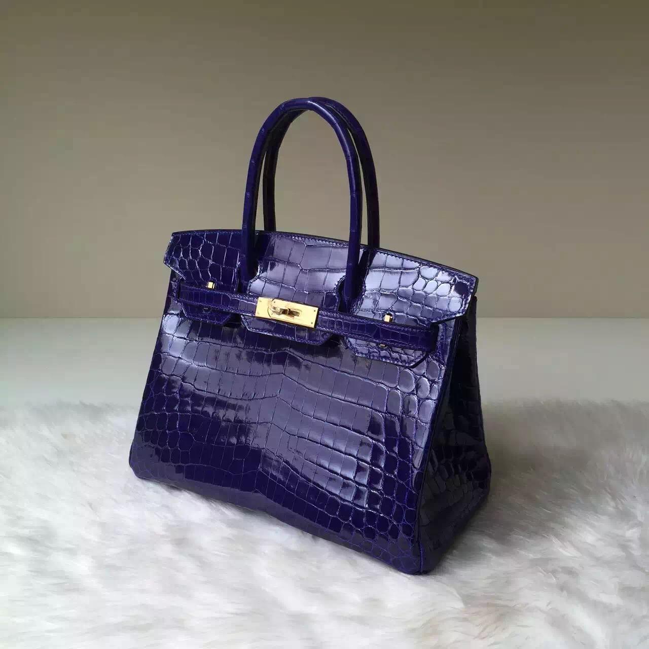 Wholesale Hermes Crocodile Shiny Leather Birkin30 in 7T Blue Electric