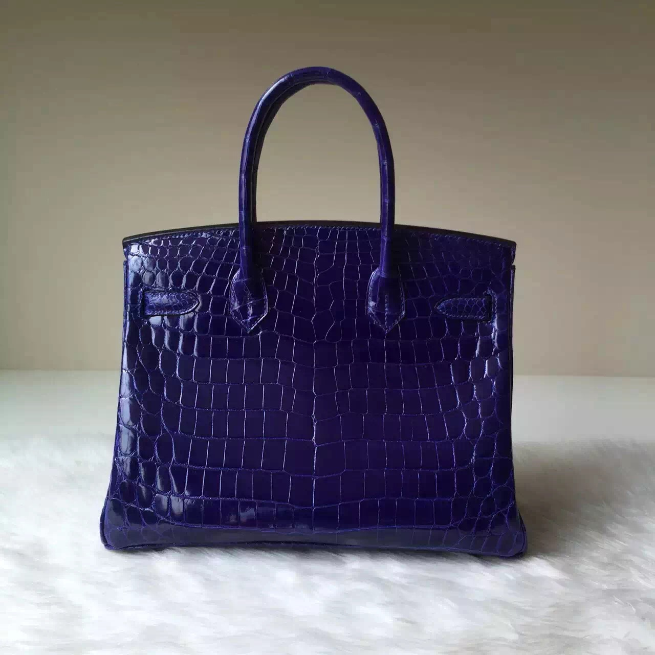 Wholesale Hermes Crocodile Shiny Leather Birkin30 in 7T Blue Electric