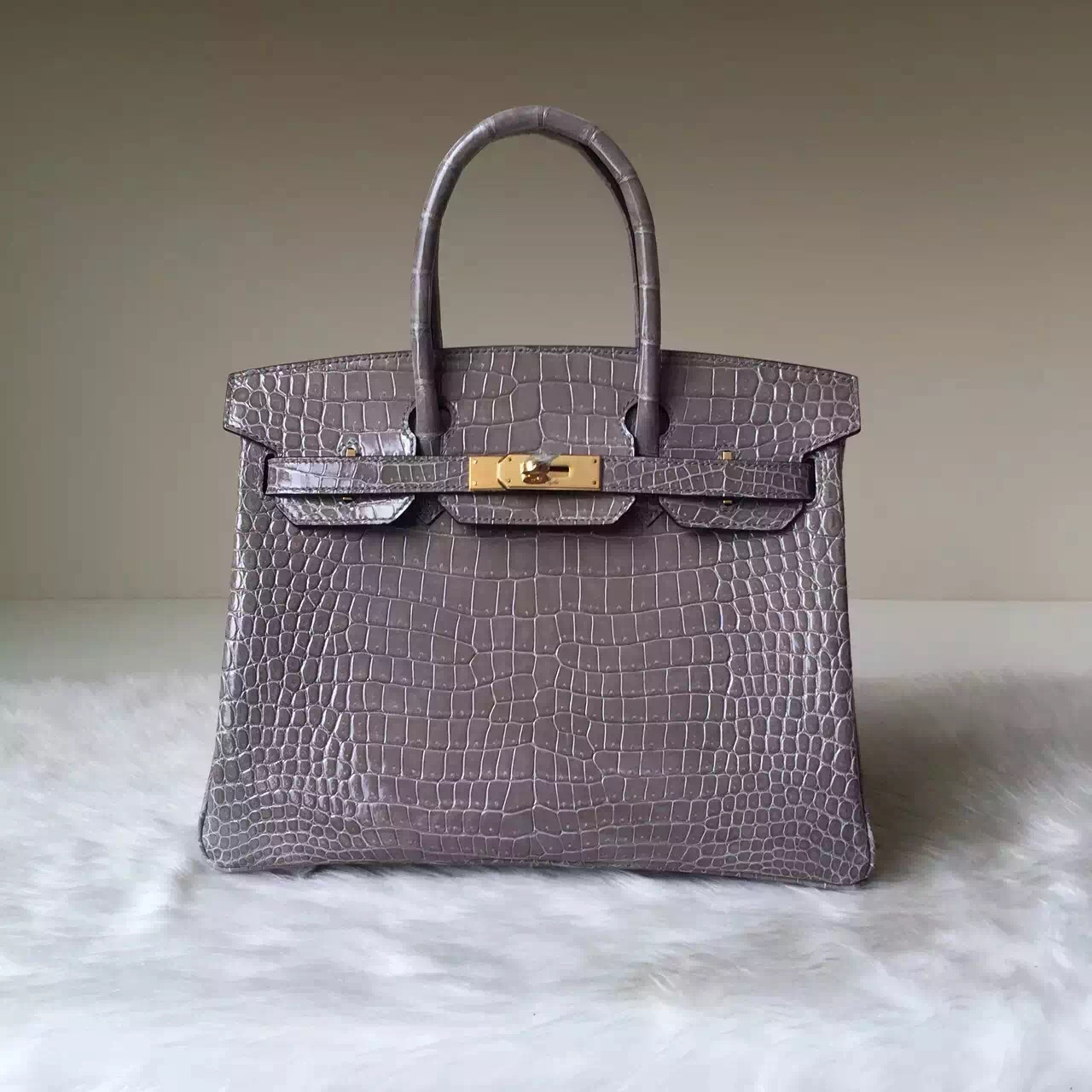 Wholesale Hermes Gris Tourterelle Crocodile Leather Birkin 30cm Gold Hardware