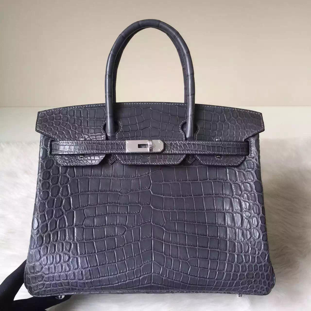 Discount Hermes Birkin Bag30cm in 8F Etain Grey Crocodile Matt Leather