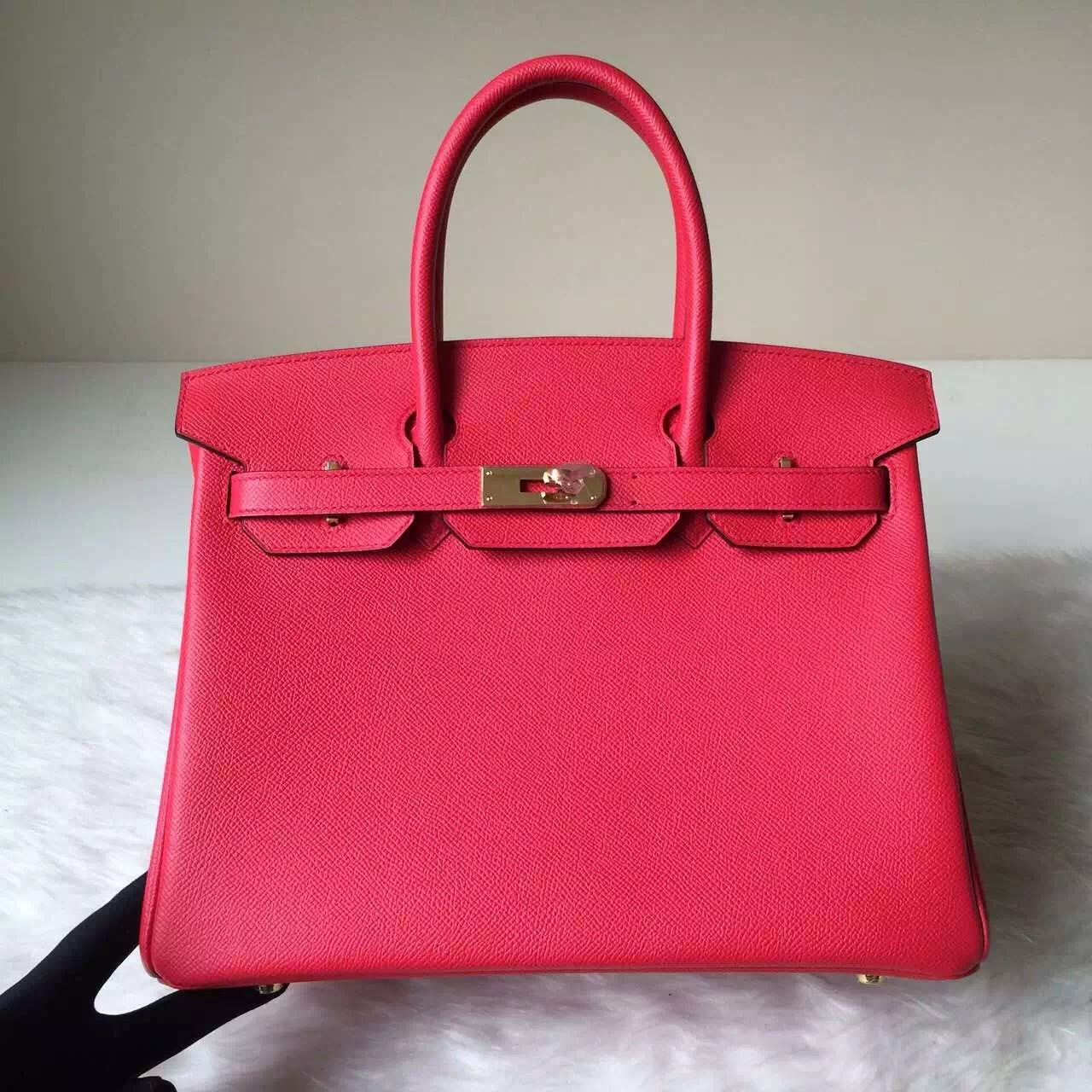 Elegant Women's Handbag Hermes Azalea Red Epsom Leather Birkin 30cm