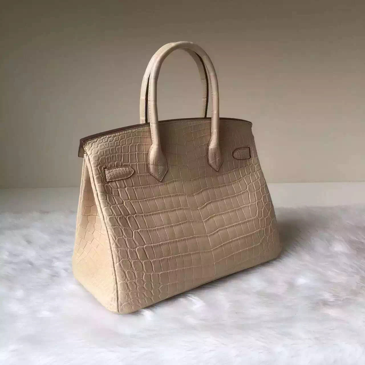 Sale Hermes Bag Apricot Crocodile Matt Leather Birkin Bag 30CM
