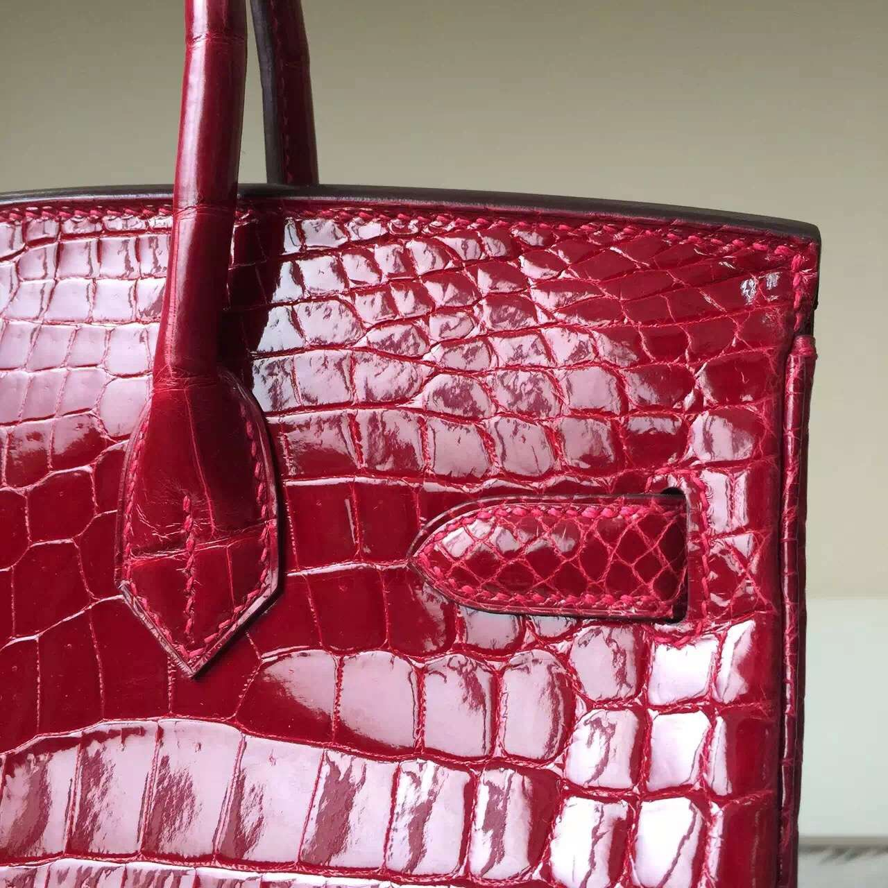 Hand Stitching Hermes Birkin30cm CK55 Hermes Red Crocodile Shiny Leather