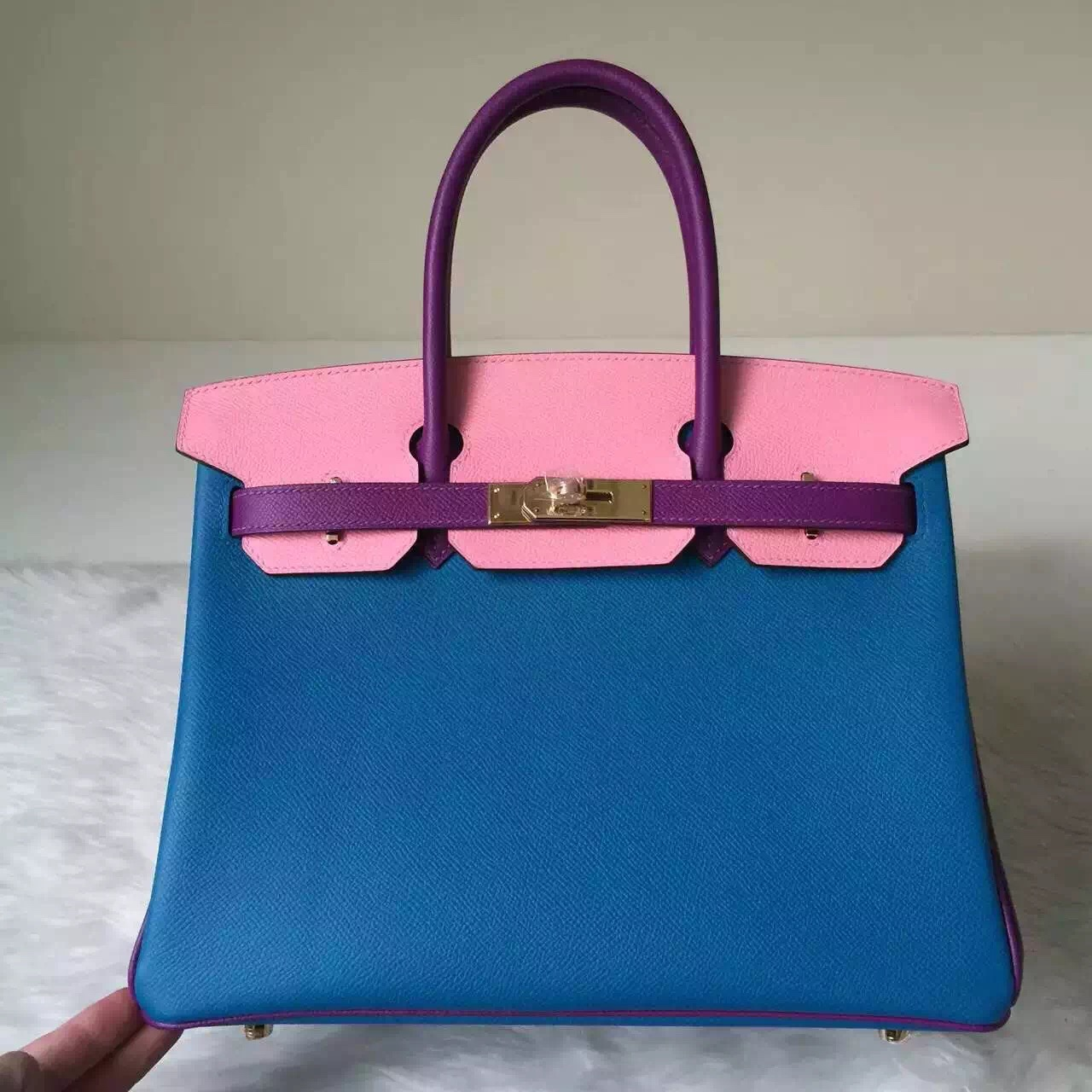 New Pretty Hermes Epsom Leather Color Blocking Birkin 30cm Women's Handbag