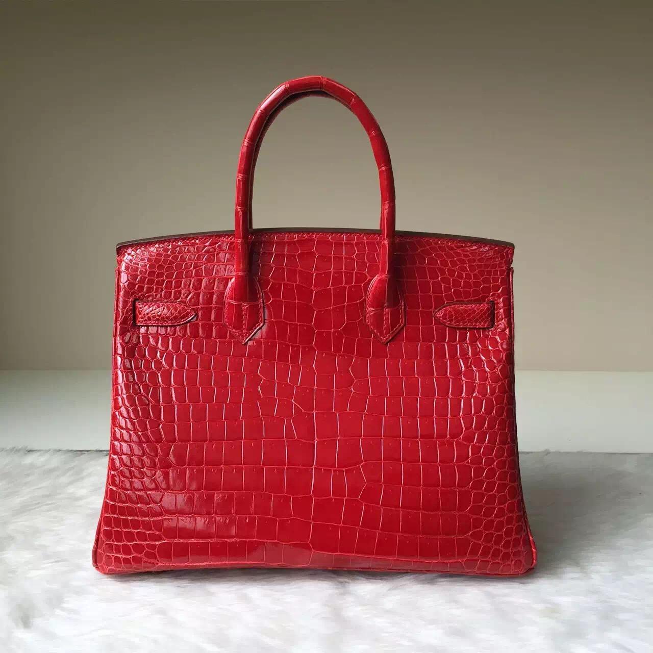 Discount Hermes Bag CK95 Ferrari Red Crocodile Shiny Leather Birkin 30cm