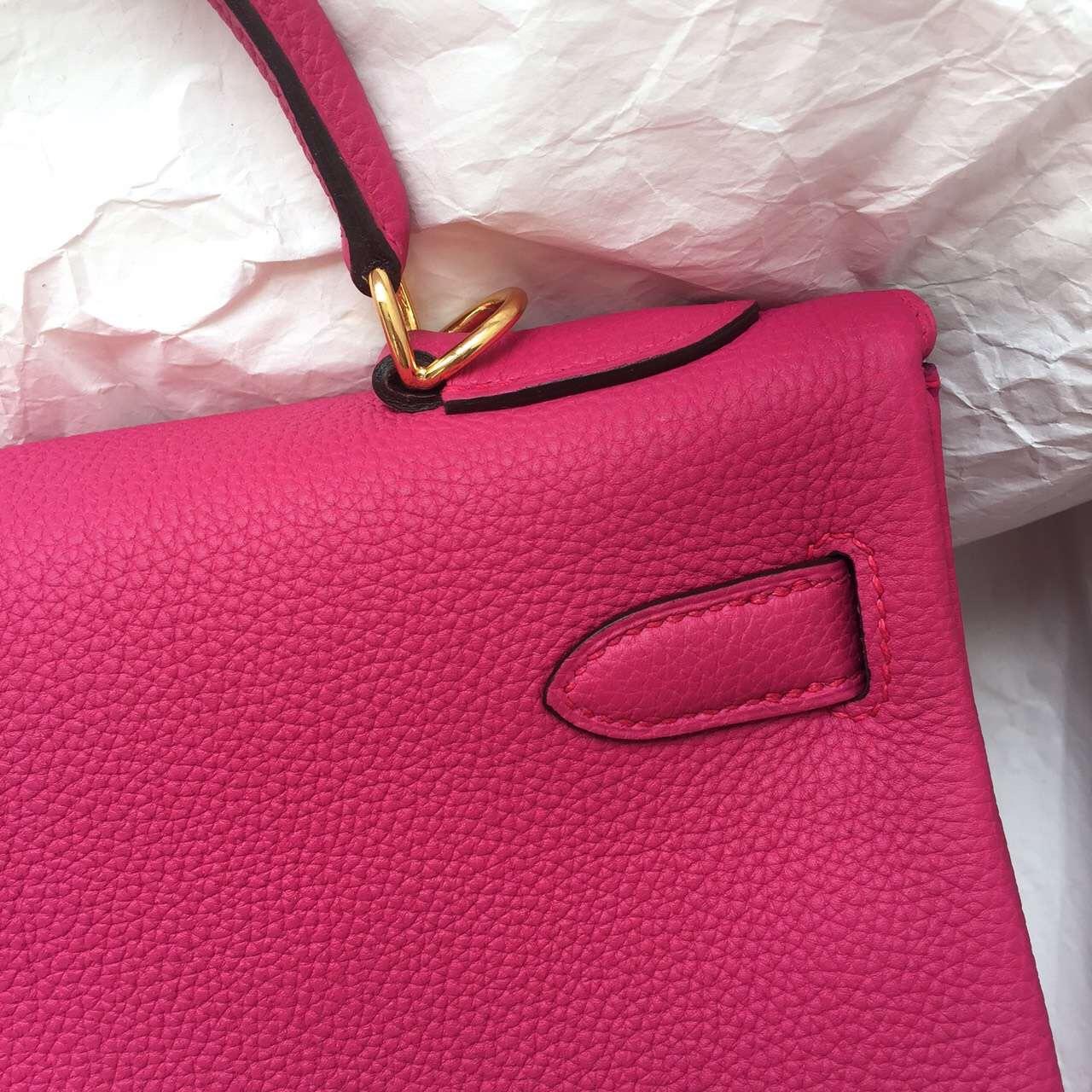 Wholesale Hermes 5R Hot Pink Togo Leather Retourne Kelly32 Gold Hardware
