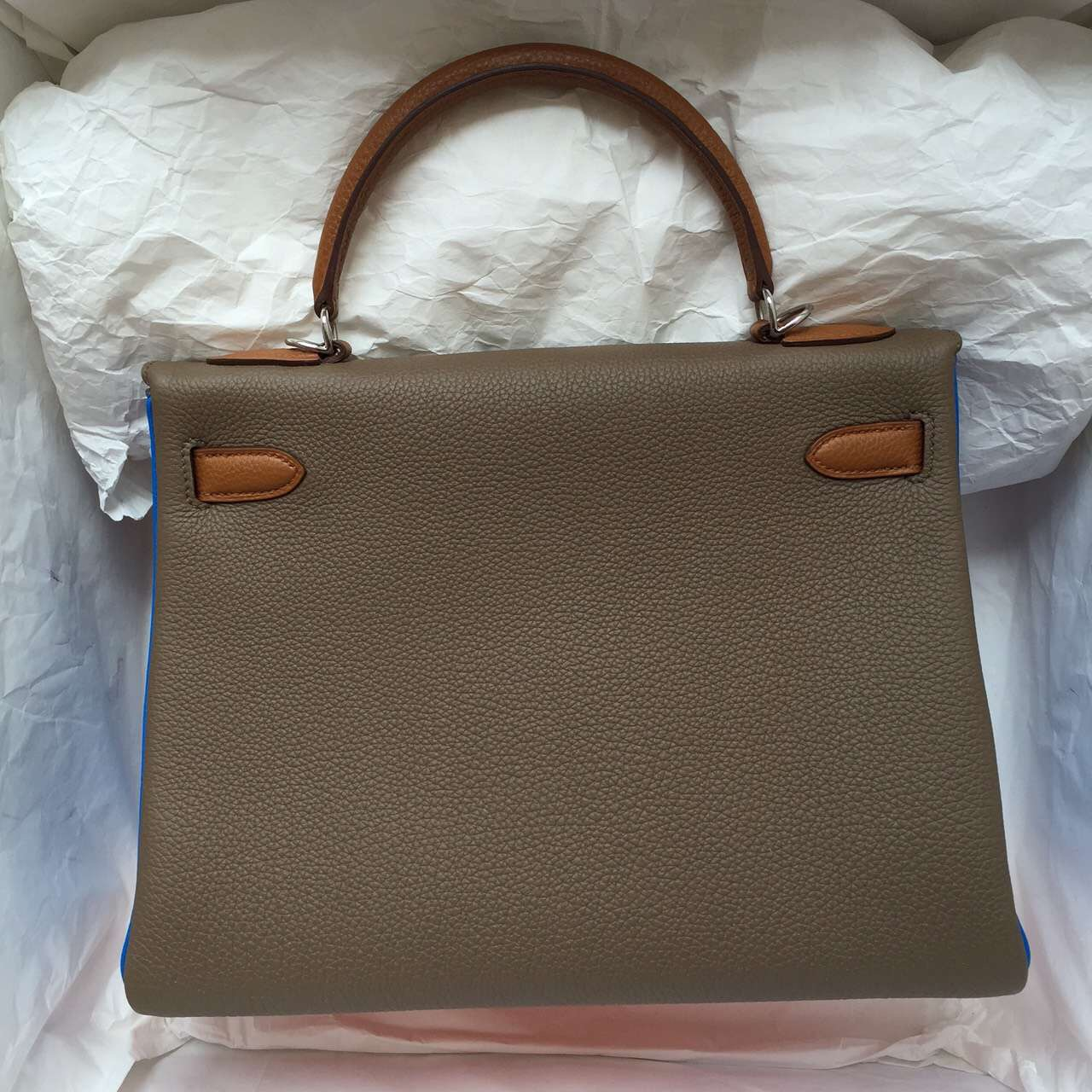 Sale Hermes Color-blocking Togo Leather Kelly Bag 32CM Elegant Women's Handbag