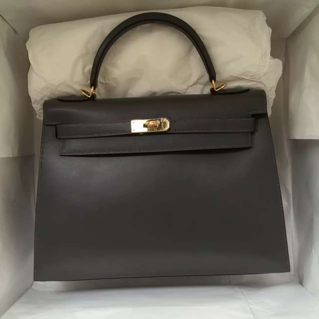 Hermes 8F Etain Grey Box Leather Sellier Kelly Bag 32CM Women's Tote Bag
