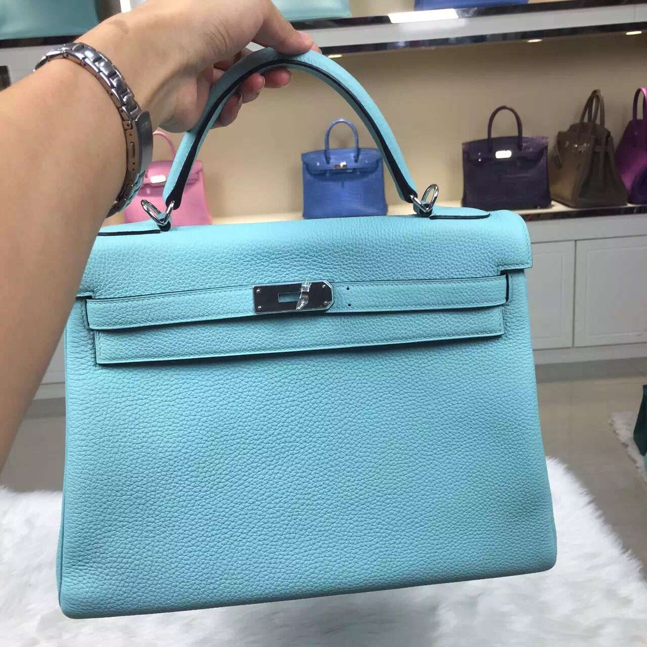 Hand Stitching Hermes Kelly 32CM Togo Calfskin Leather in 3P Lagon Blue
