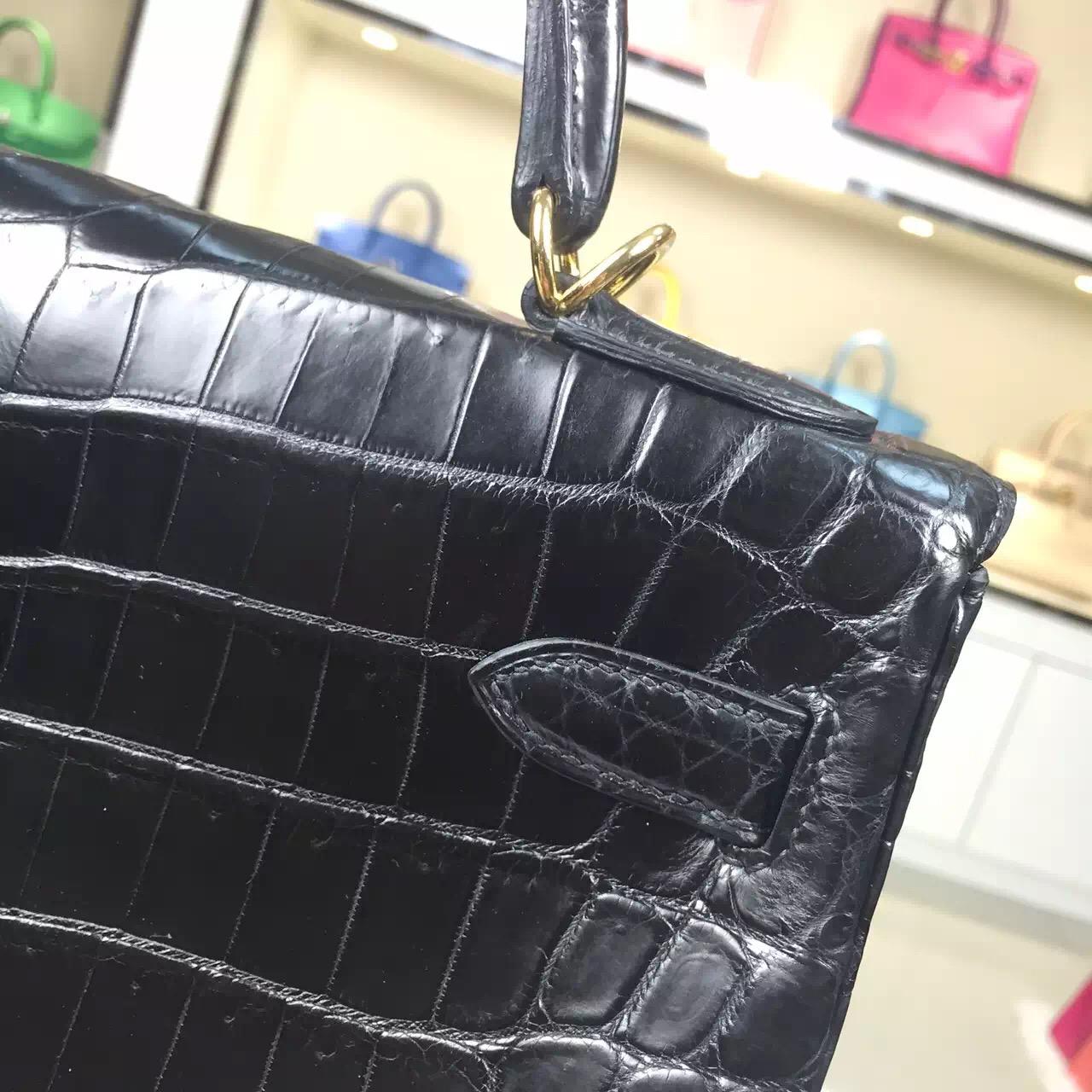 Hot Sale Hermes Kelly Bag 32CM CK89 Black Crocodile Skin Leather Women's Handbag