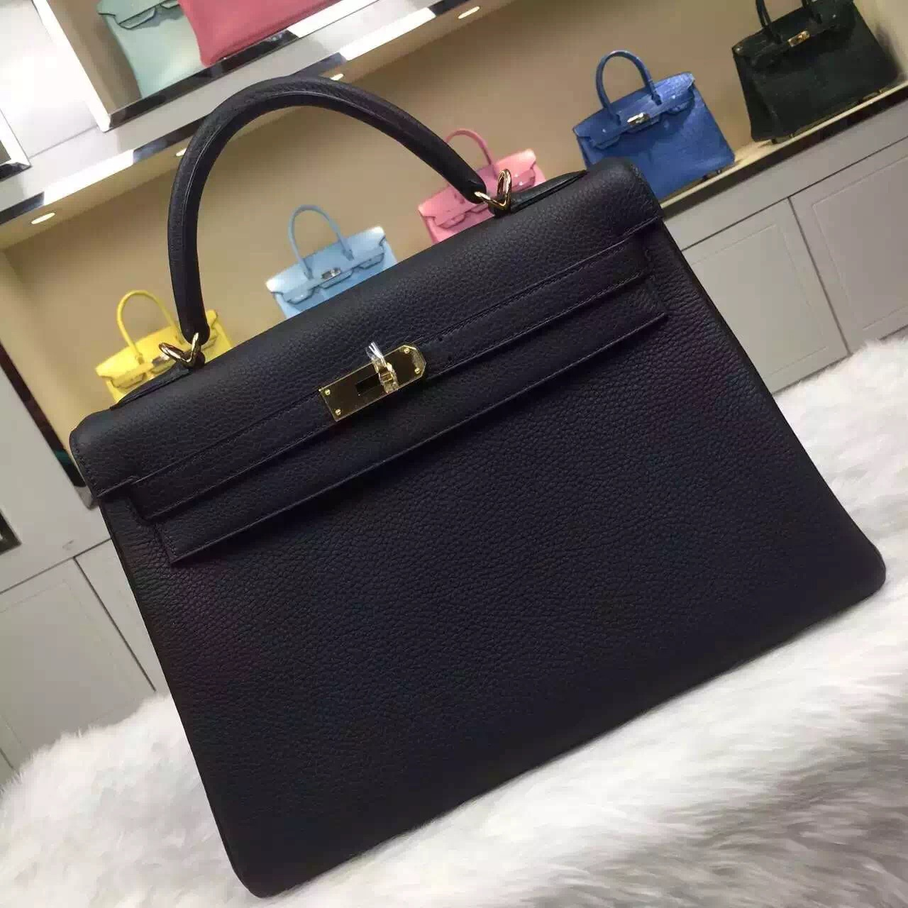 Fashion Women's Bag Hermes CK89 Black Togo Leather Kelly Bag32CM Retourne