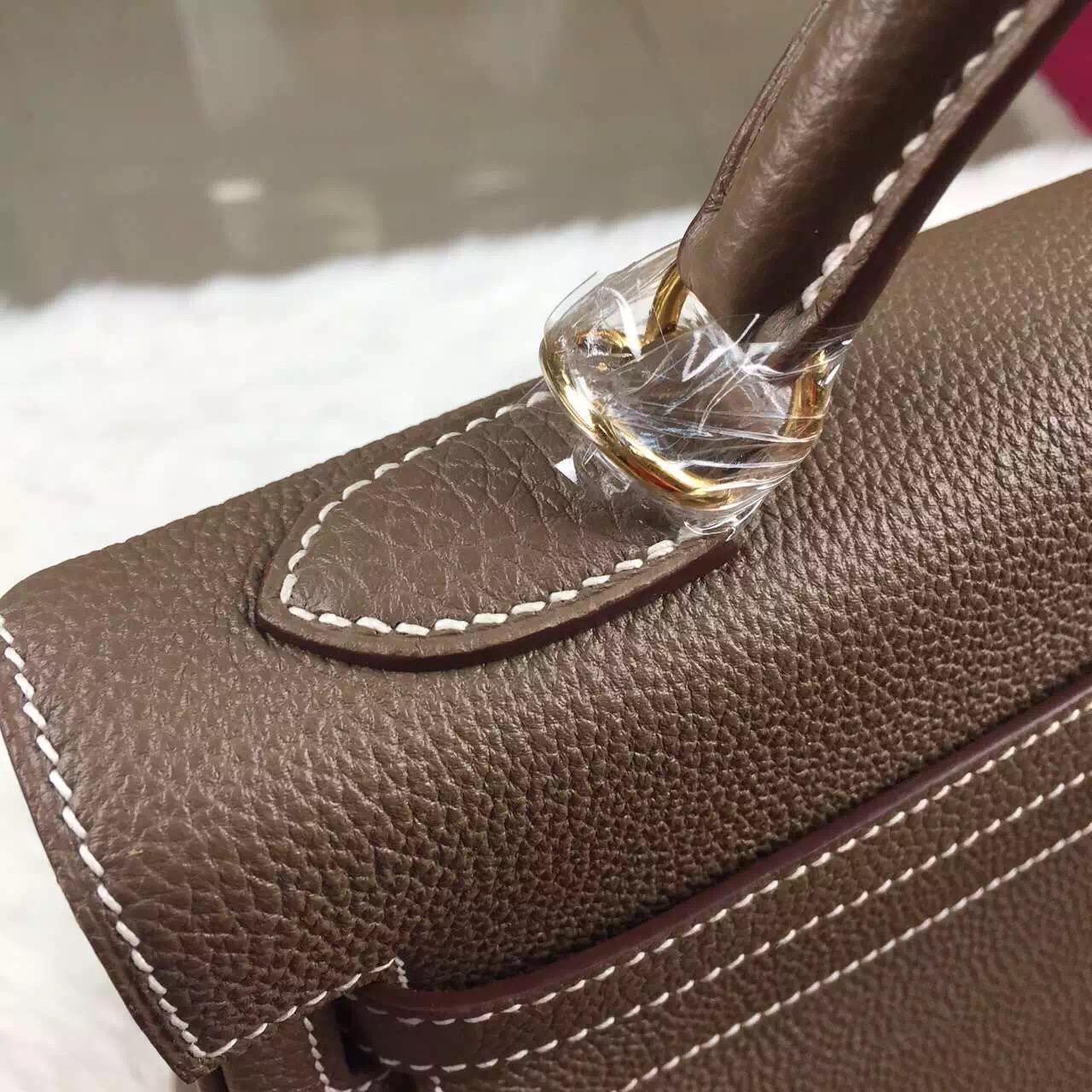 Discount Hermes C81 Etoupe Grey Togo Leather Kelly Bag 32CM Elegant Women's Handbag