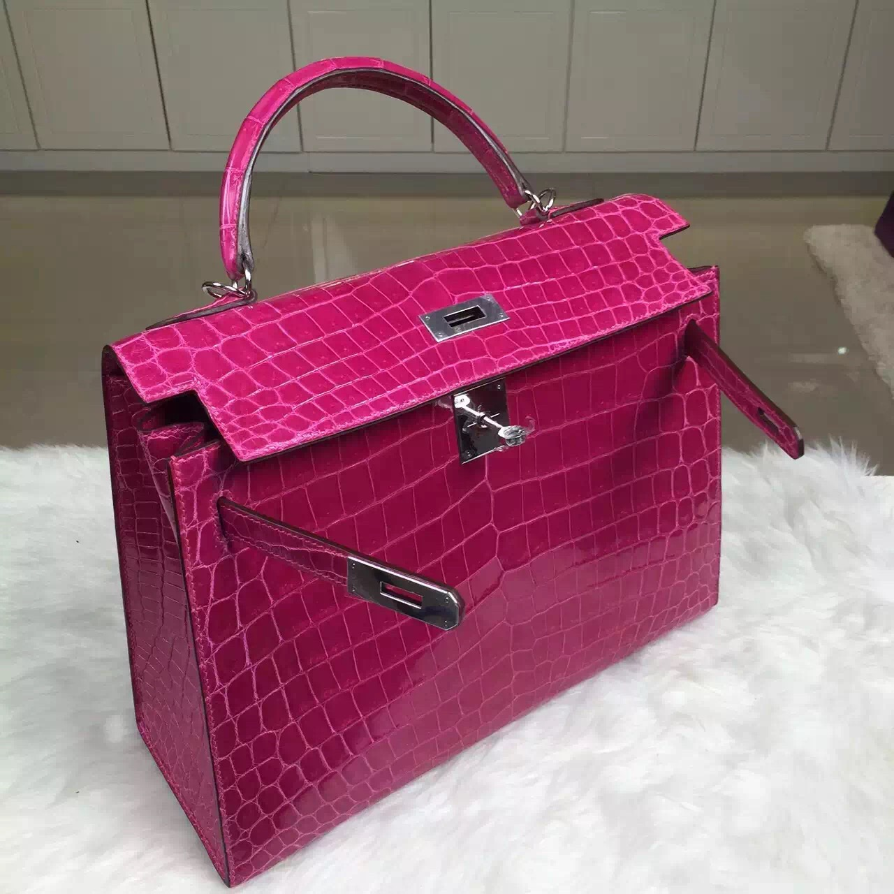 Luxury Hermes J5 Rose Scheherazade HCP Crocodilie Leather Kelly Bag 32CM