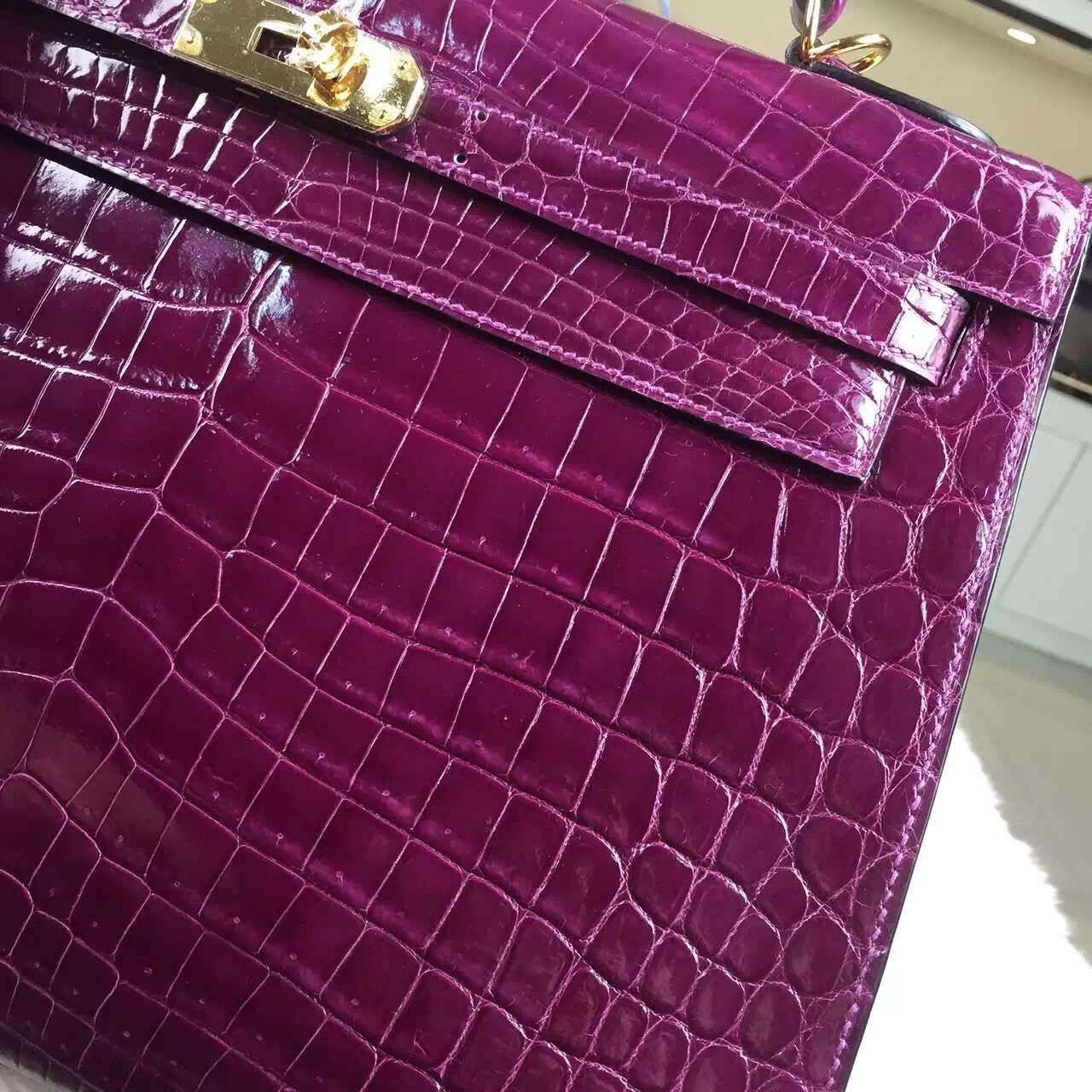 Online Shopping Hermes Crocodile Shiny Skin Kelly32CM in Grape Purple
