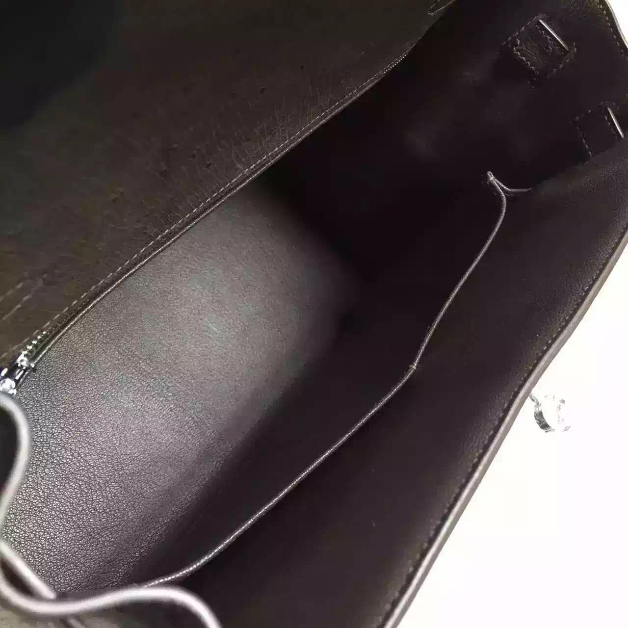Luxury Hermes Kelly32CM Grey France Original Ostrich Leather Women's Tote Bag