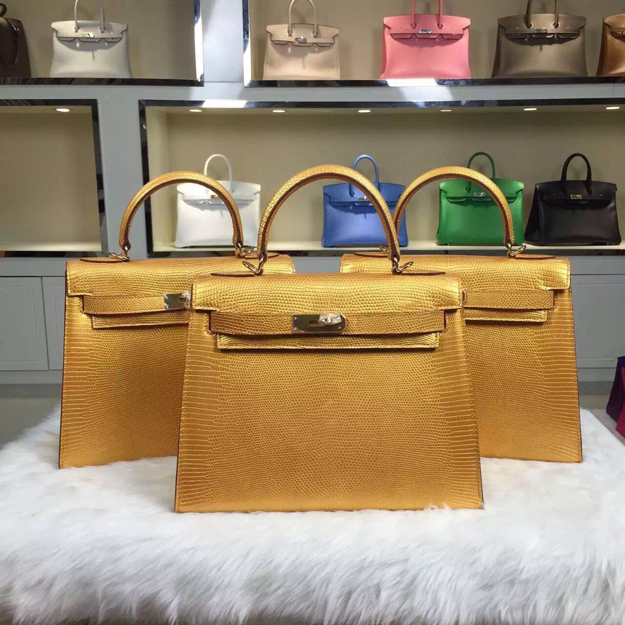 High Quality Hermes Kelly Bag Lizard Skin Leather Multi-color Women's Tote Bag