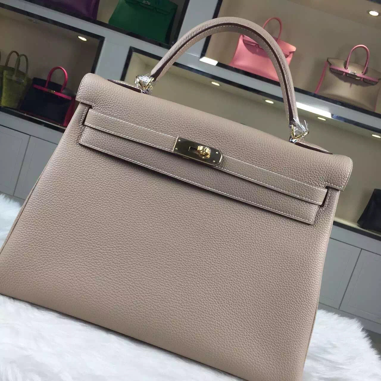 Online Store Hermes 1F Diamond Grey Togo Calfskin Leather Kelly Bag32CM Gold Hardware