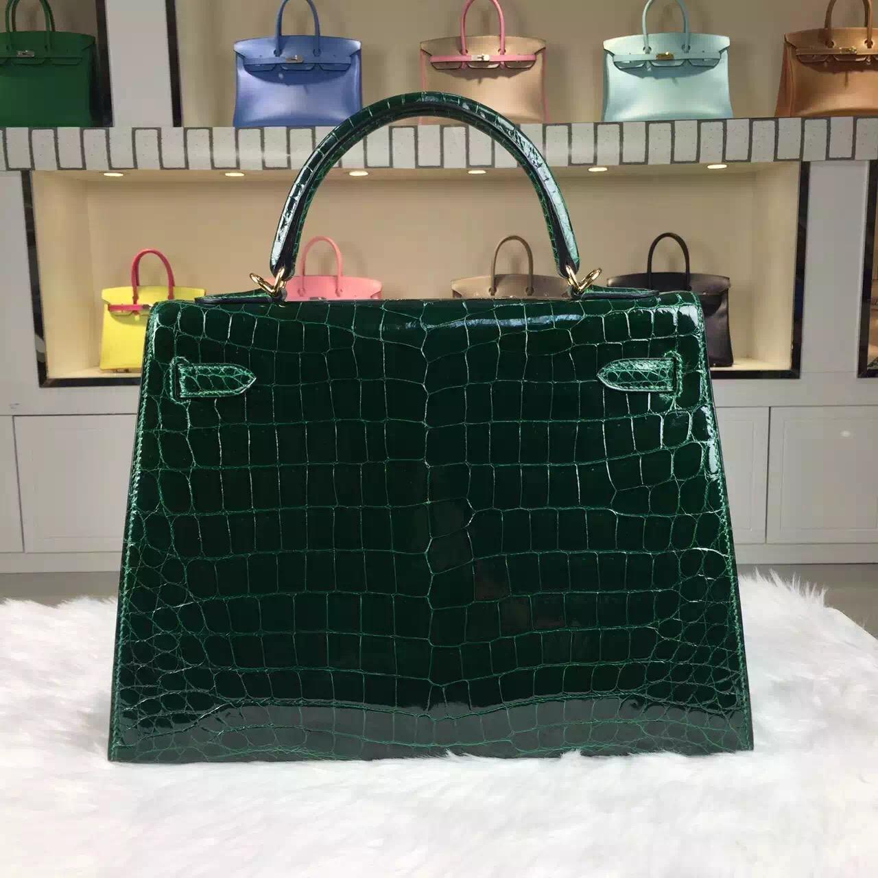 Custom-made Hermes CK67 Vert Fonce HCP Shiny Crocodile Leather Kelly Bag32CM