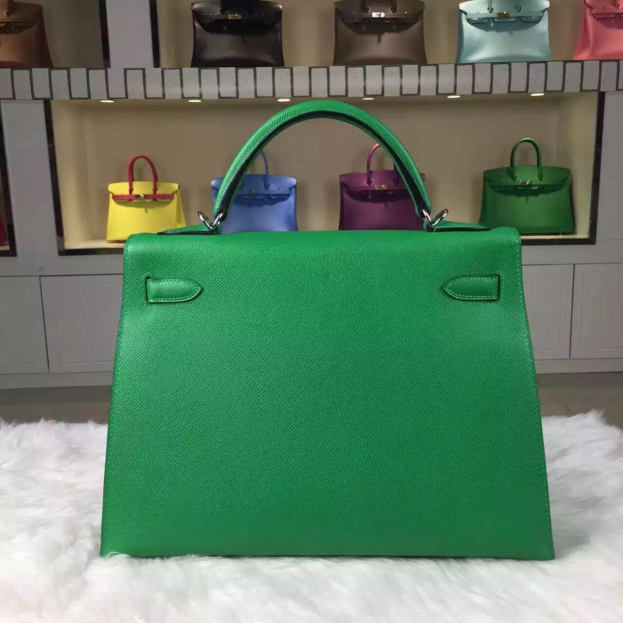 Hot Sale Hermes 1K Bamboo Green Epsom Calfskin Leather Kelly Bag32CM