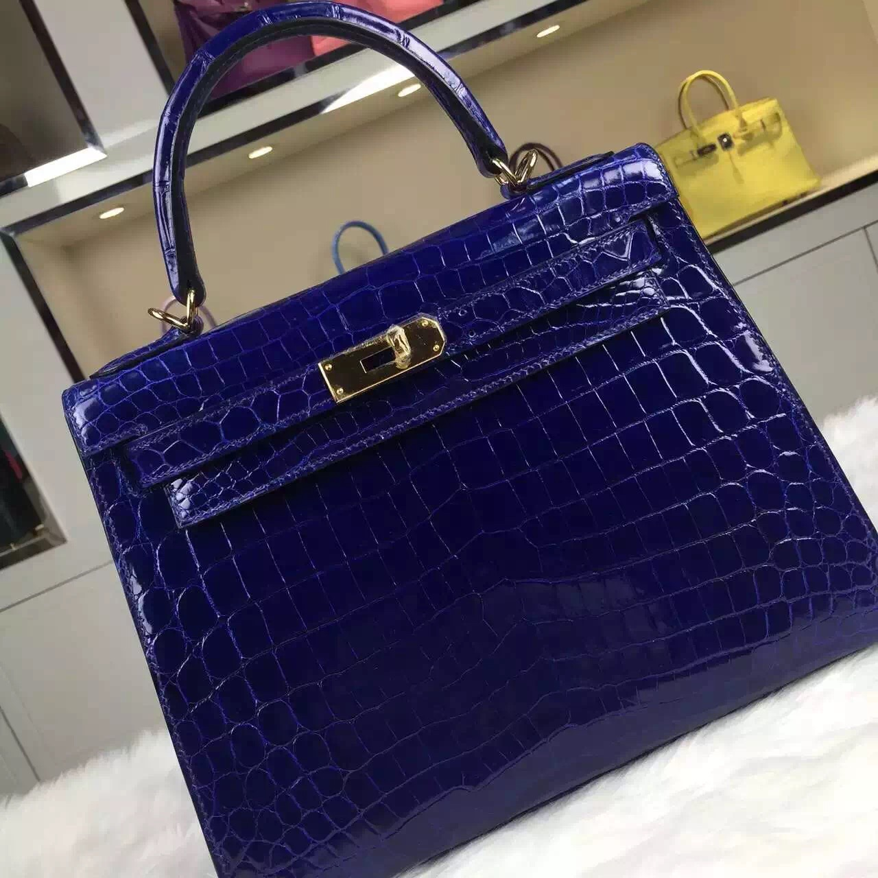 Discount Hermes Kelly32CM Crocodile Shiny Leather 7T Blue Electric Fashion Tote Bag