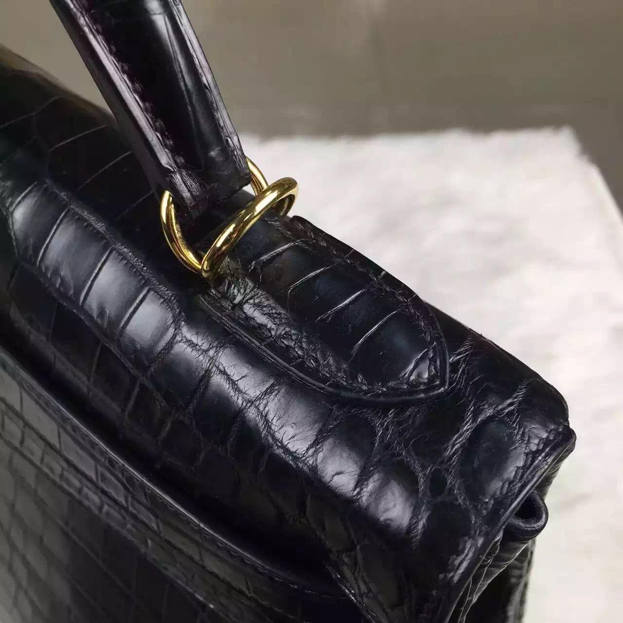 Online Shopping Hermes Black HCP Crocodile matt Leather Kelly Bag 32CM Gold Hardware