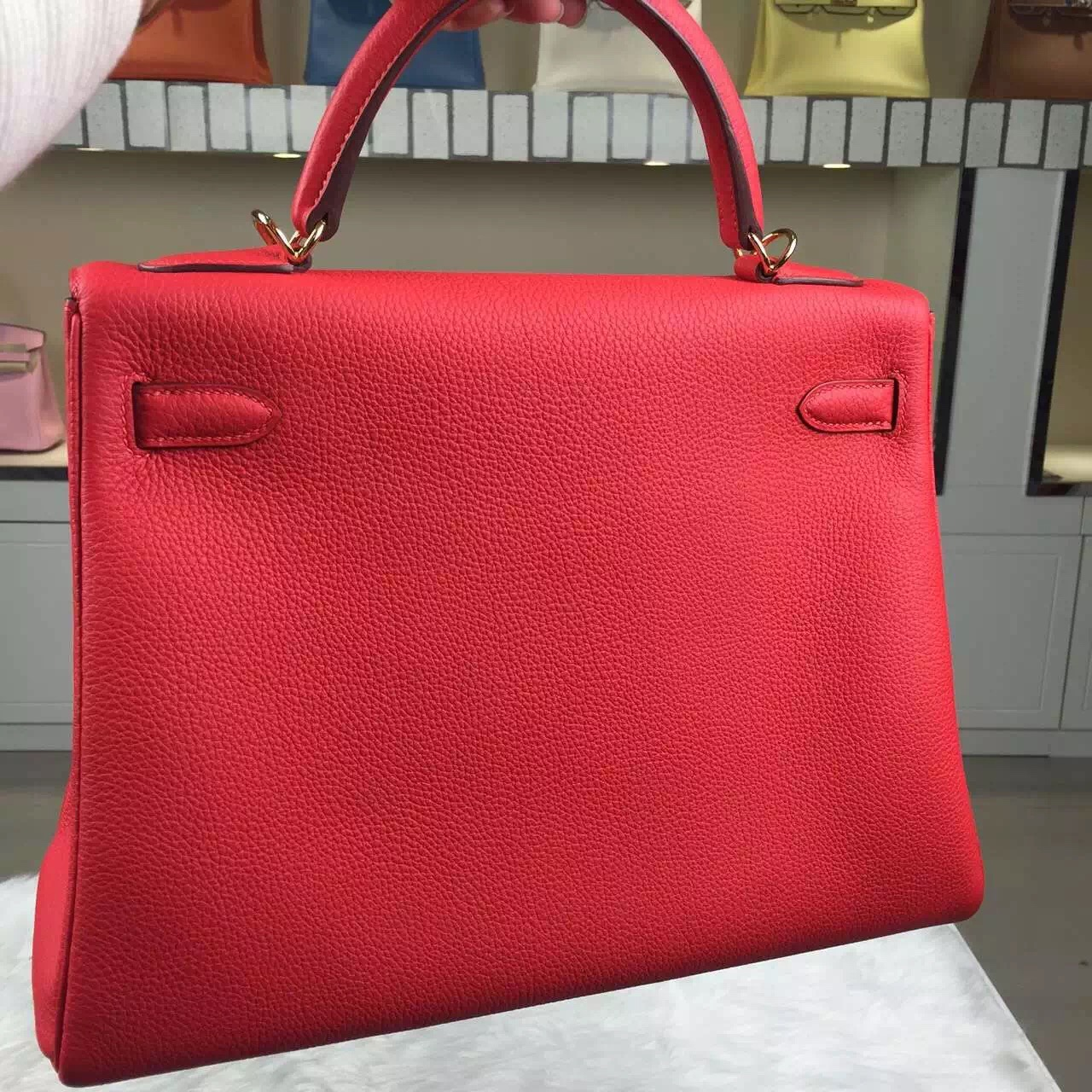 High Quality Hermes Kelly32 9T Flame Red Togo Leather Women's Bag