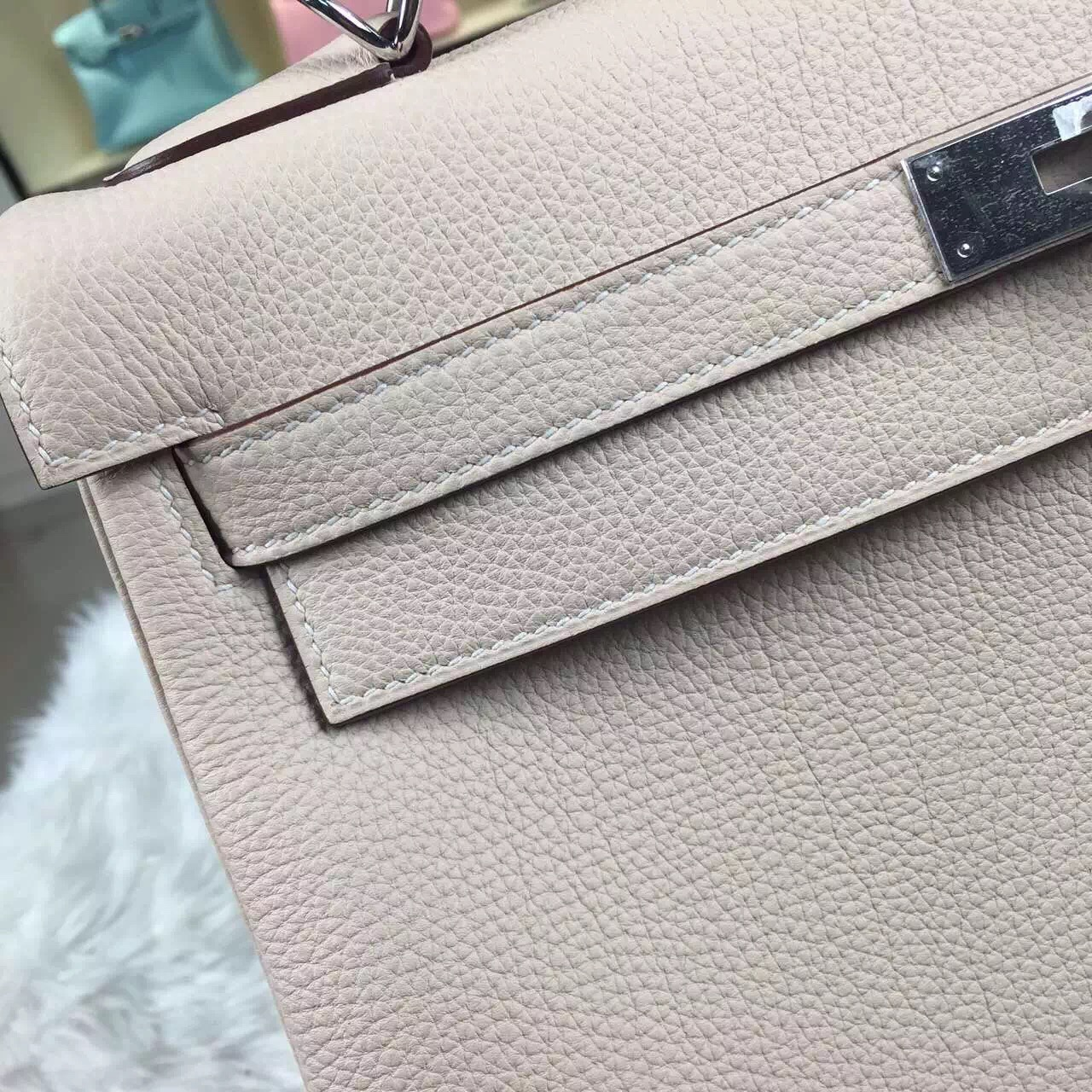 Discount Hermes Kelly Bag32CM 3C Wool White Togo Leather