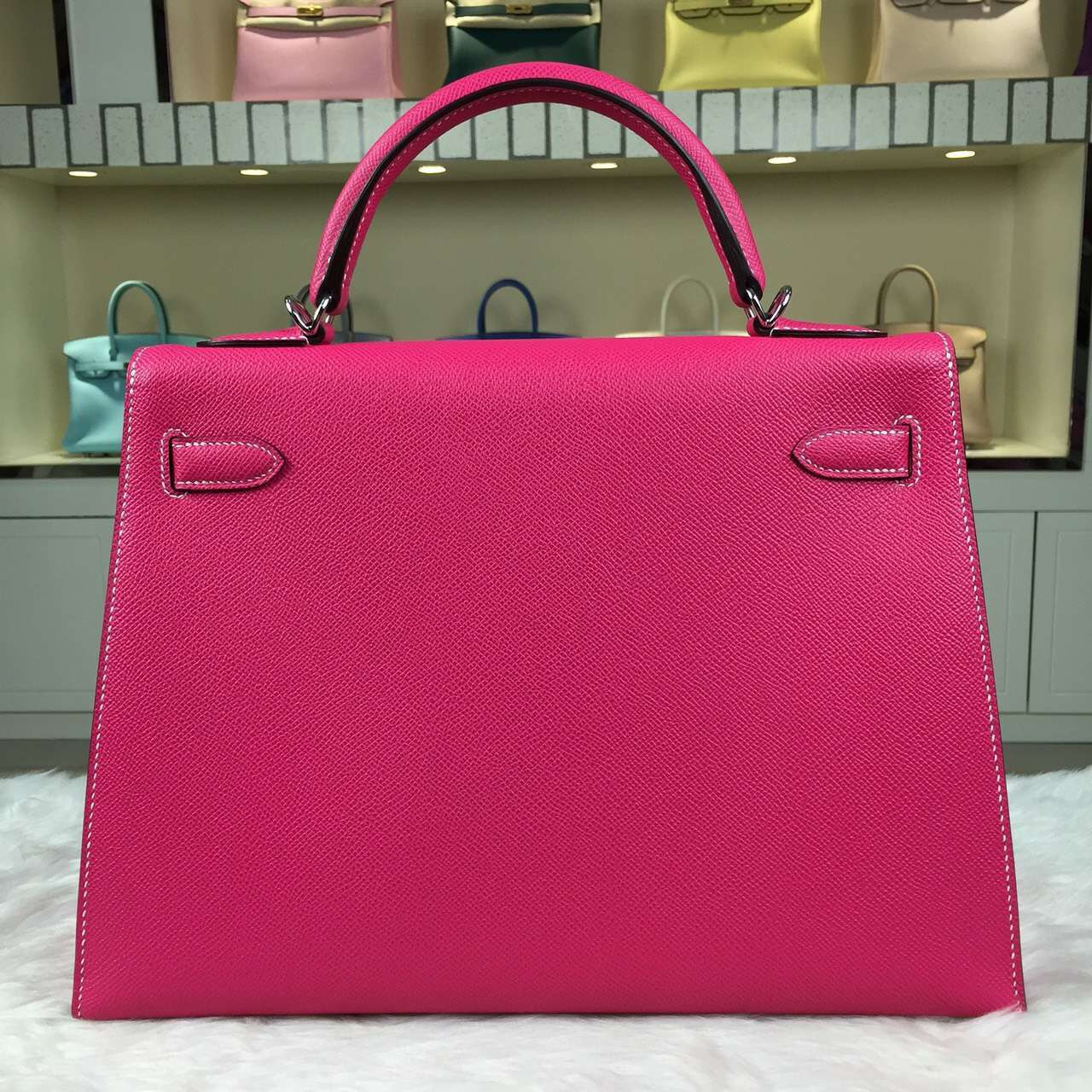Hand Stitching Hermes E5 Rose Tyrien Epsom Calfskin Leather Kelly32