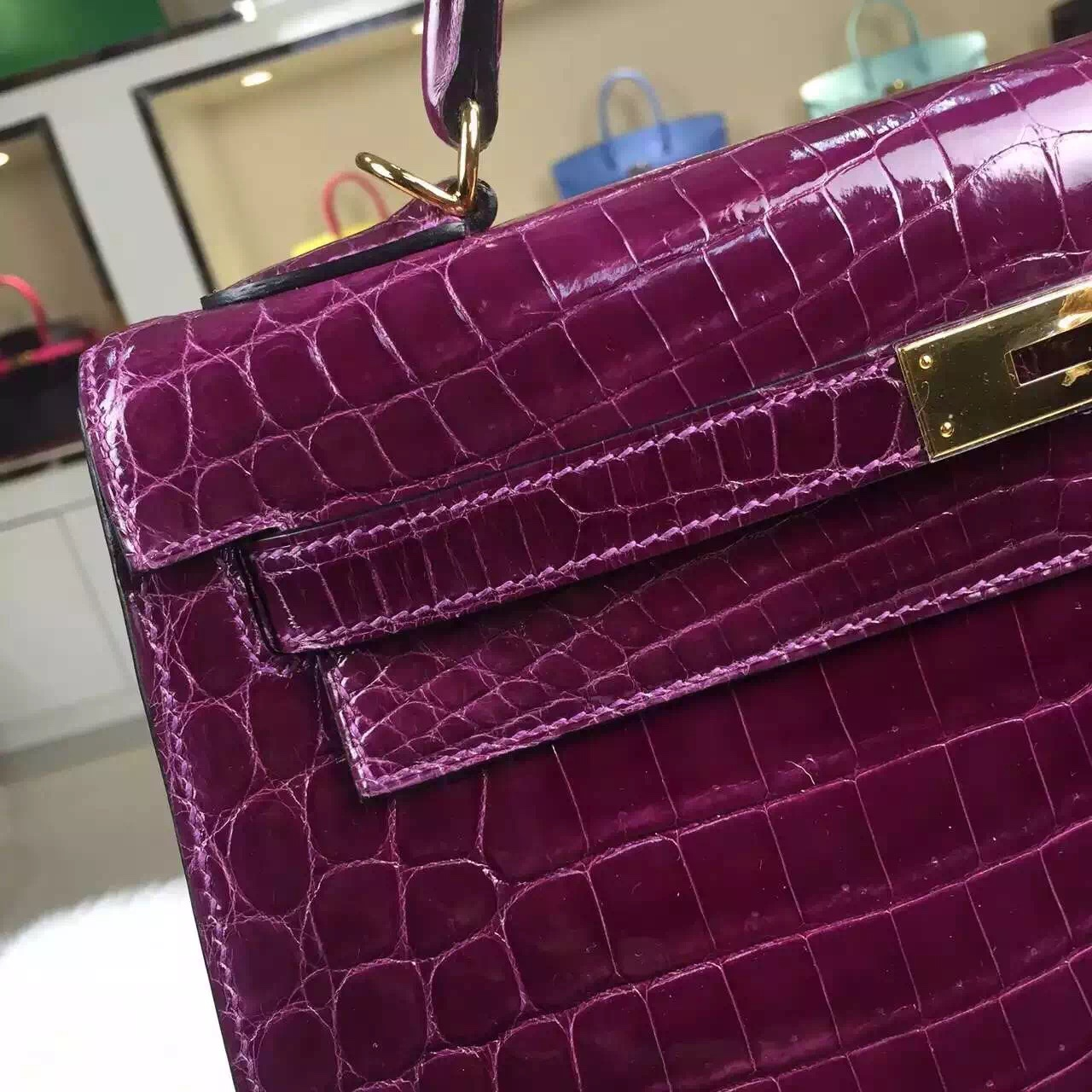 Hermes Kelly32cm Sellier N5 Cassis Color Shiny Crocodile Leather