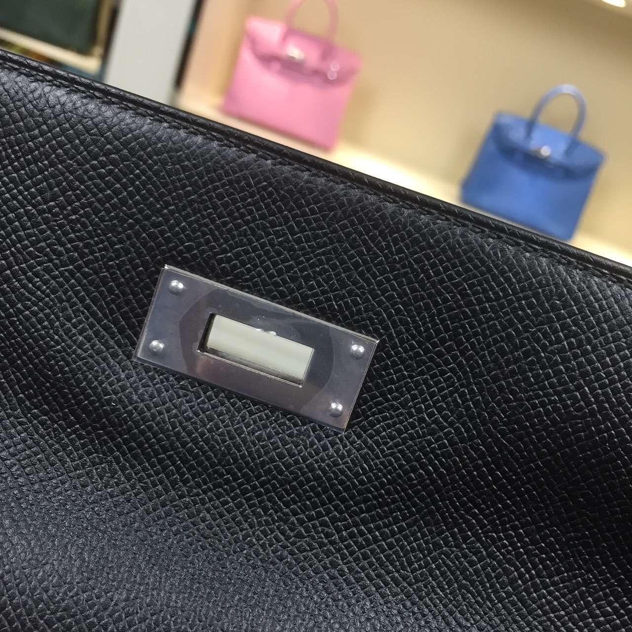 Online Store Hermes CK89 Black Epsom Leather Kelly Bag32cm Sellier