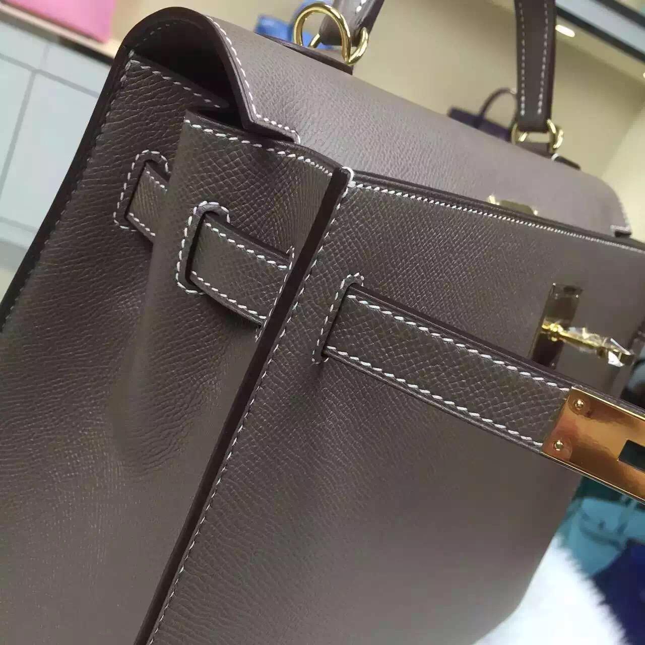 Luxury Women's Bag Hermes CK81 Etoupe Grey Epsom Leather Kelly Bag32cm