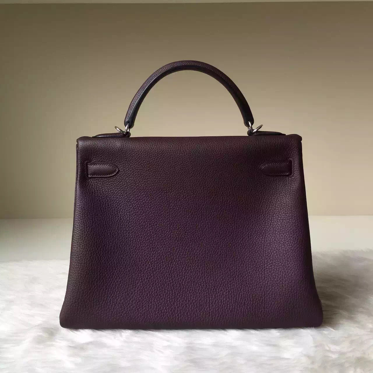 Hand Stitching Hermes Togo Leather Kelly Bag 32CM in Bordeaux
