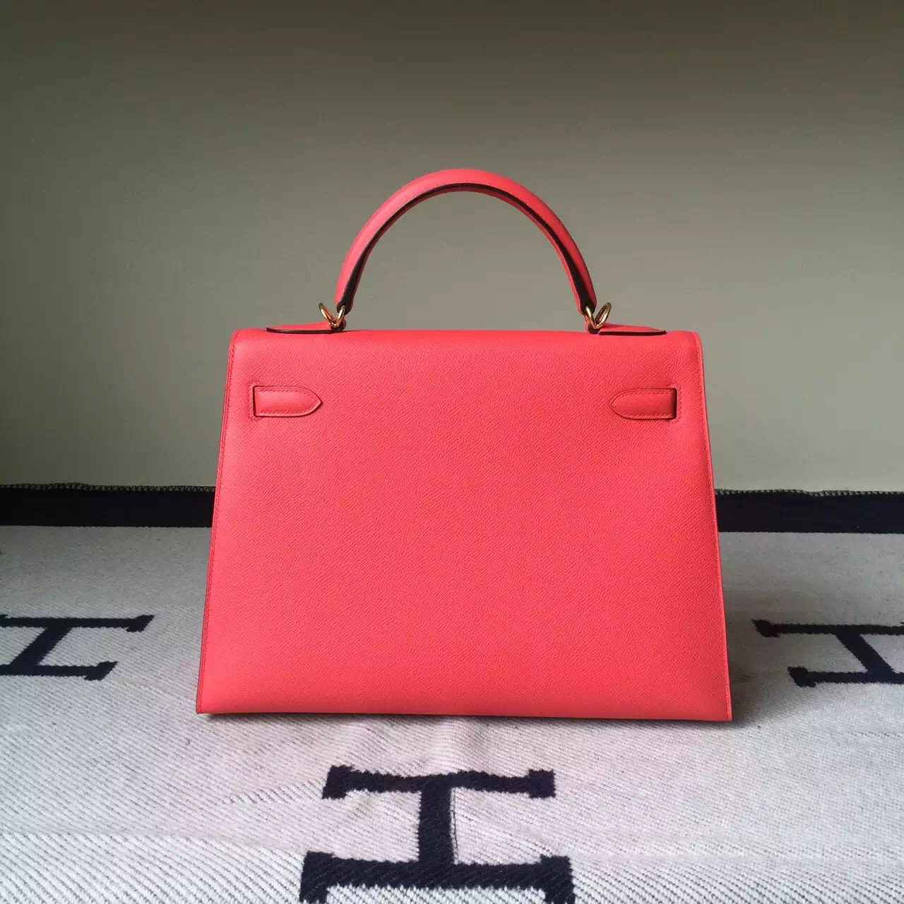 Discount Hermes Epsom Leather Sellier Kelly Bag 32cm in 5T Peach Pink