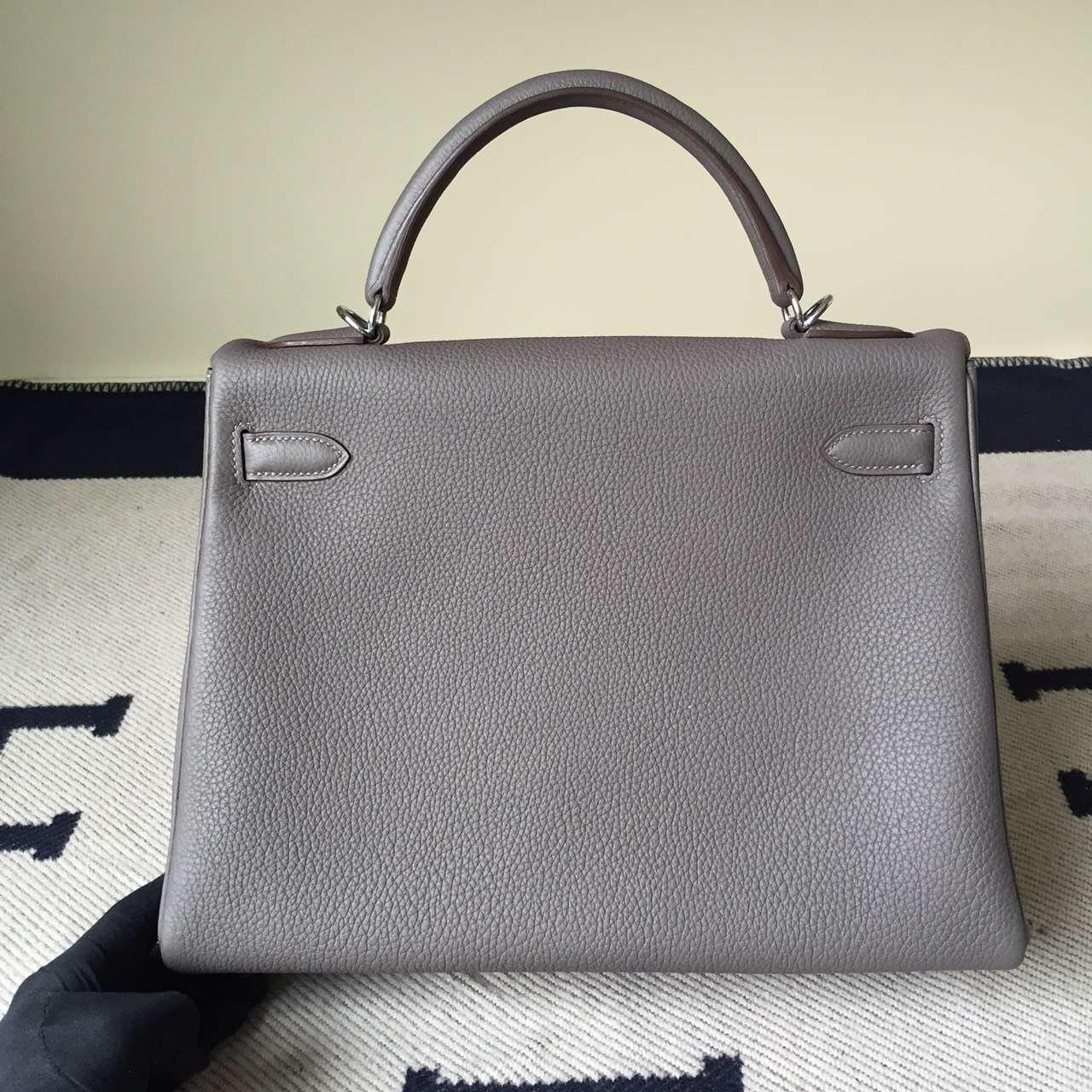 Hand Stitching Hermes Kelly Bag32cm 8F Etain Grey Togo Calfskin Leather