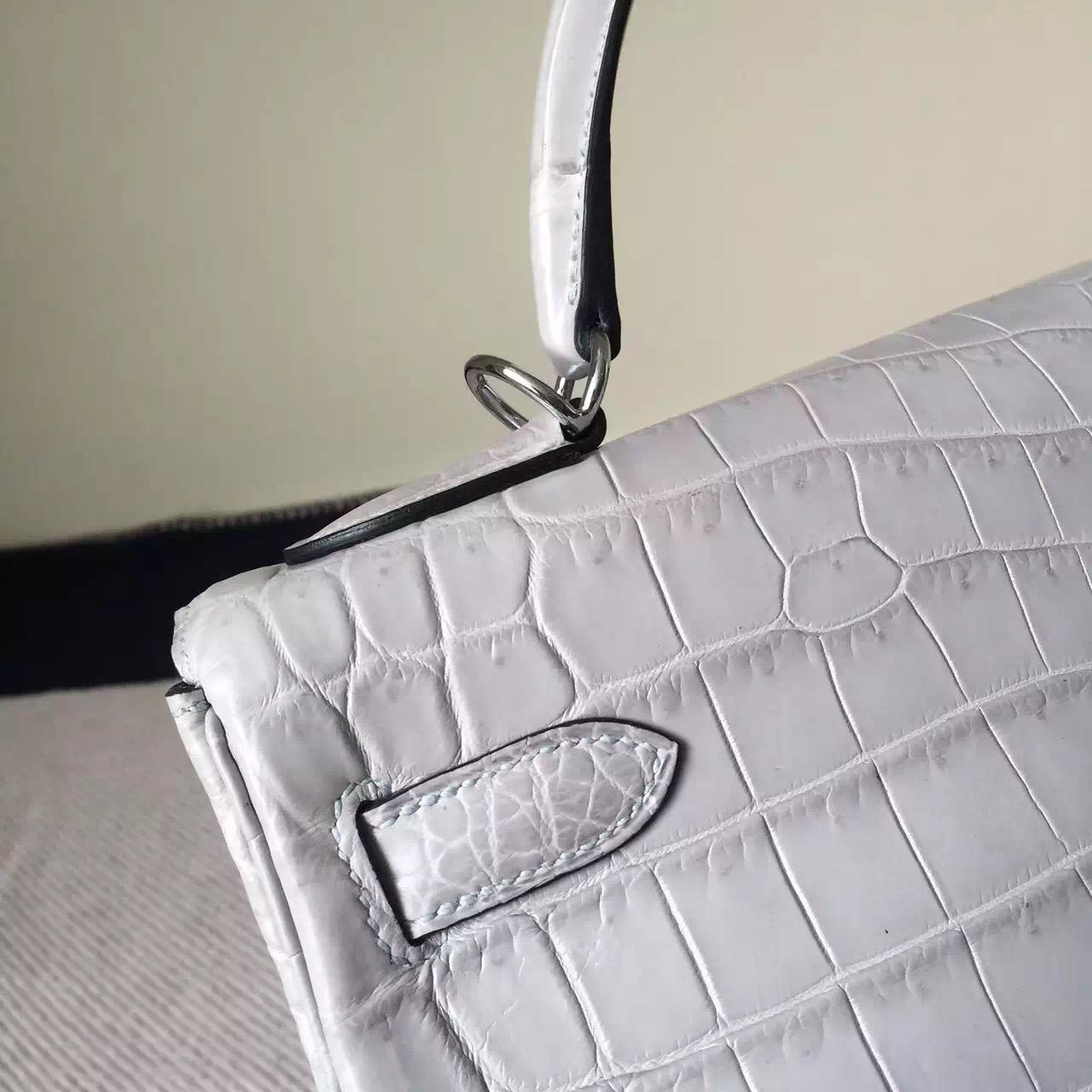 Discount Hermes 8M Galaxy Grey Crocodile matt Leather Kelly Bag 32cm