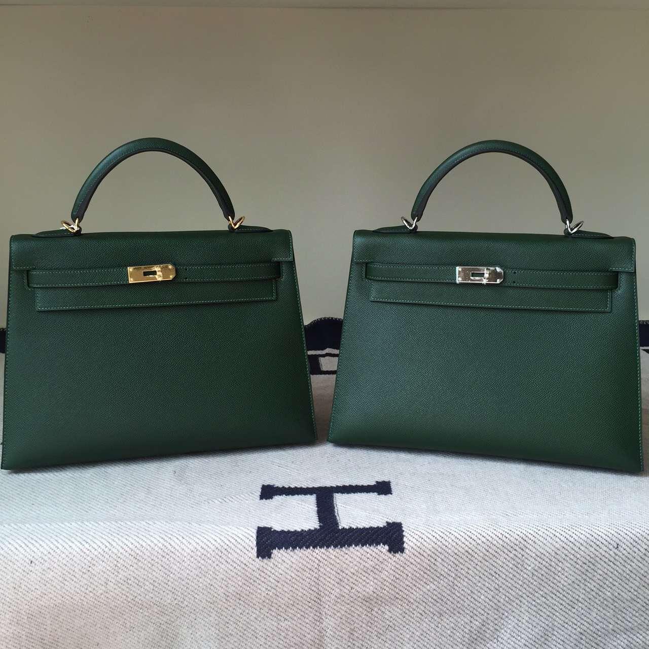New Hermes Epsom Calfskin Leather Sellier Kelly Bag32CM in Vert Anglais