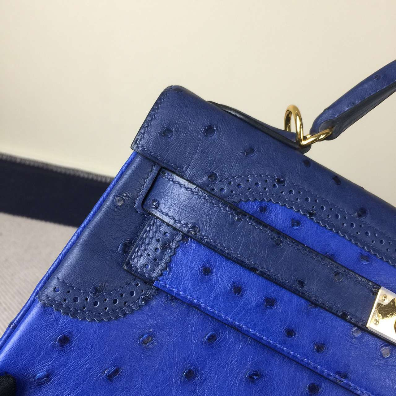 New Fashion Hermes Ghillies Kelly32CM Bag in 7T Blue Electric Ostrich Leather