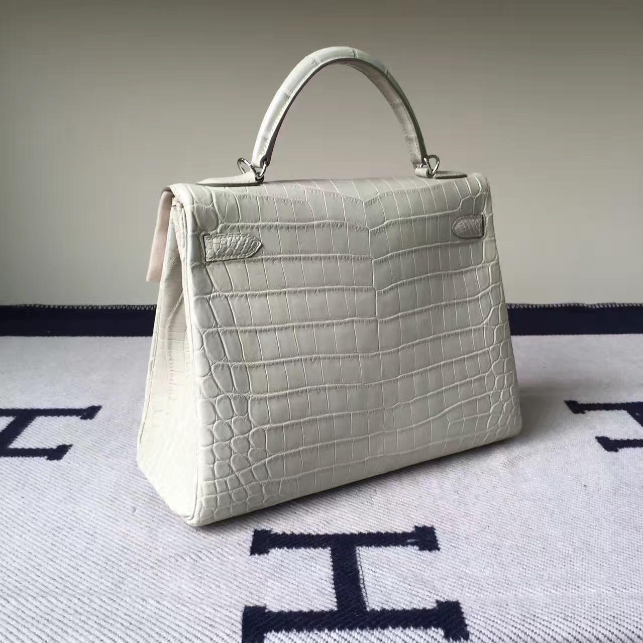 Discount Hermes Crocodile Matt Leather Retourne Kelly Bag32CM in 8L Beton White