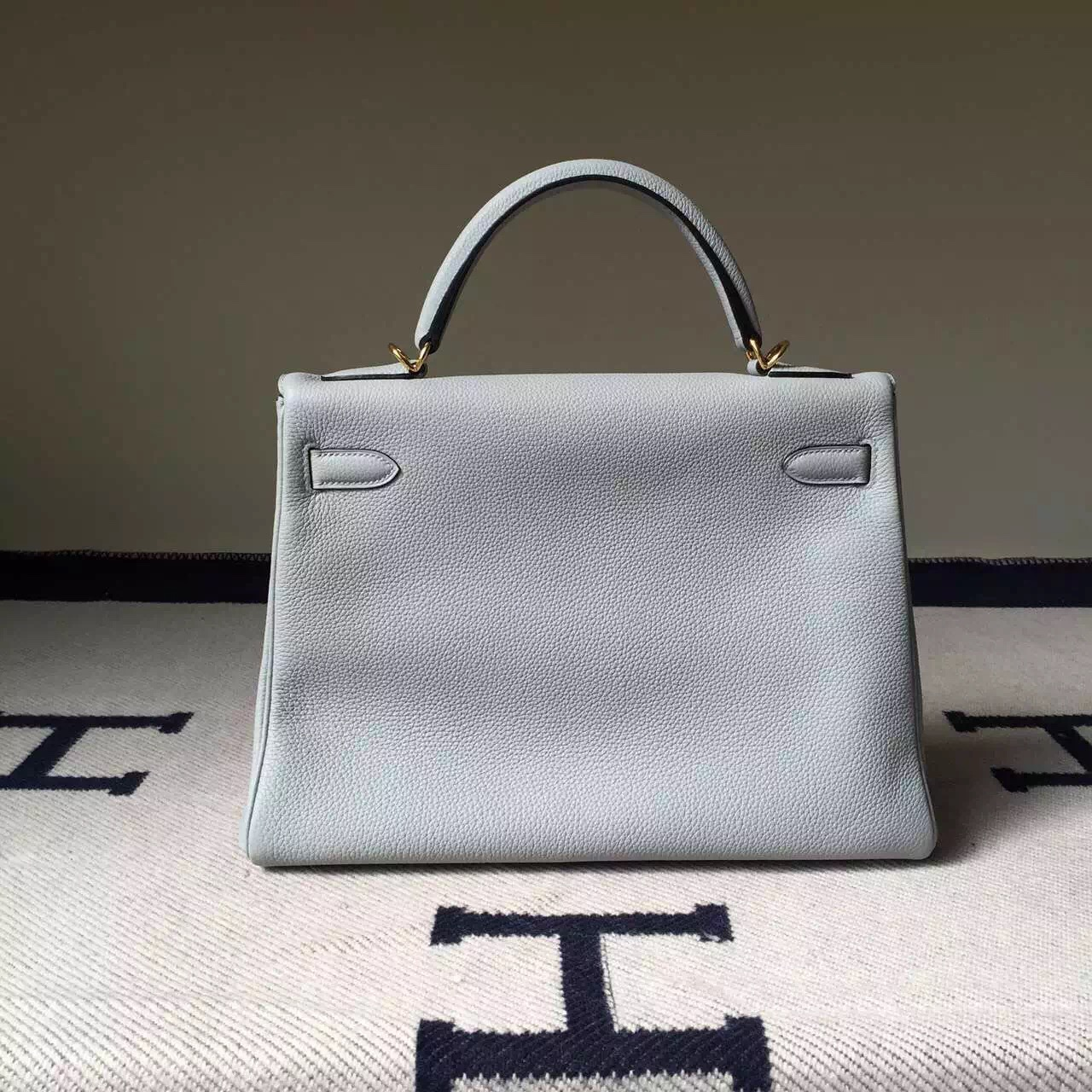 New Arrival Hermes Retourne Kelly Bag 32CM in 8U Blue Glacier Togo Leather