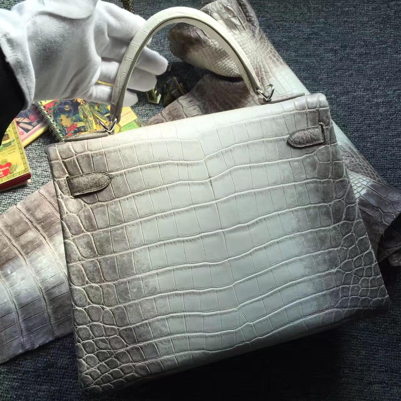 Noble Women's Bag Hermes Himalaya Crocodile  Leather Retourne Kelly Bag32CM